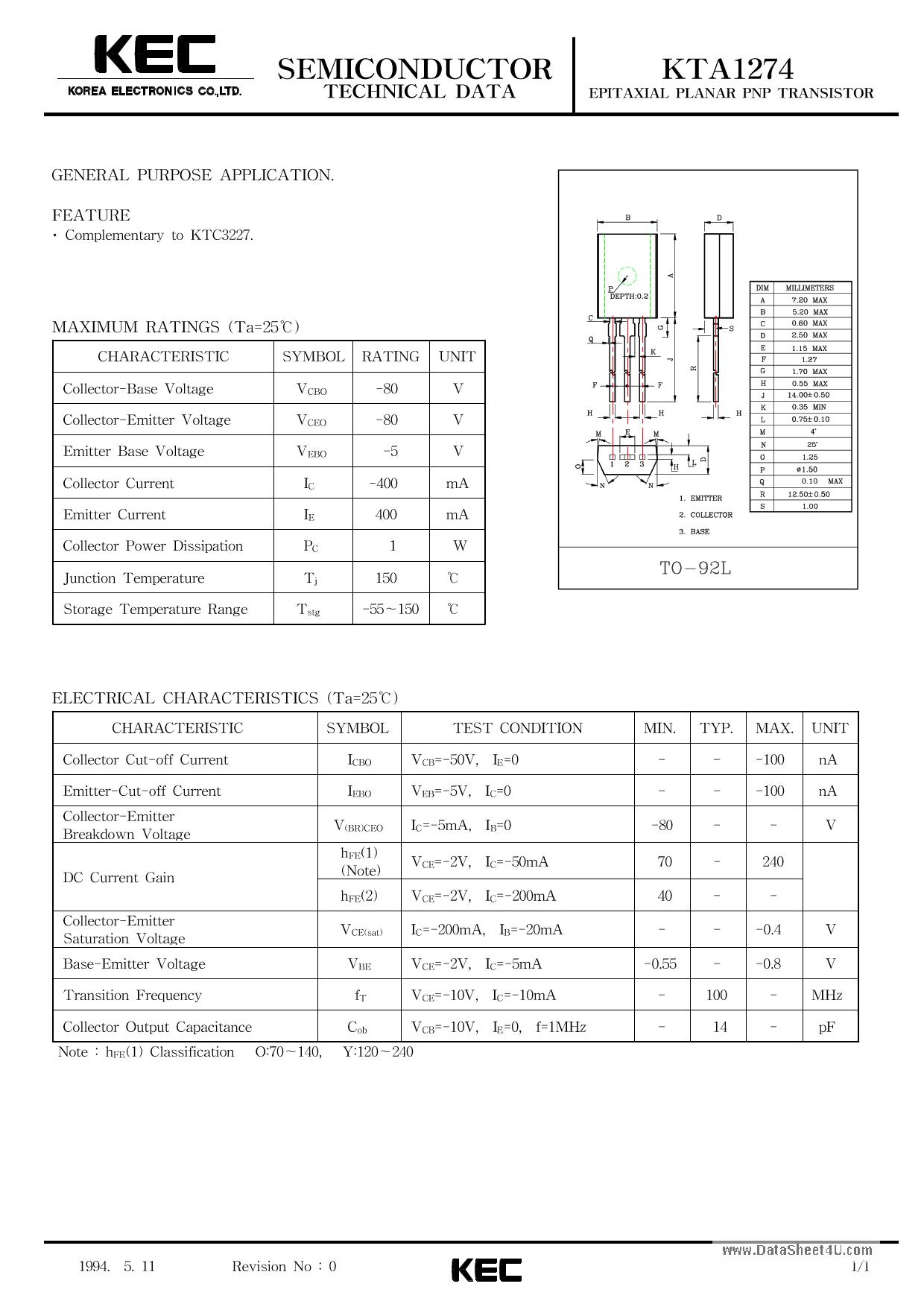 A1274 datasheet pdf pinout