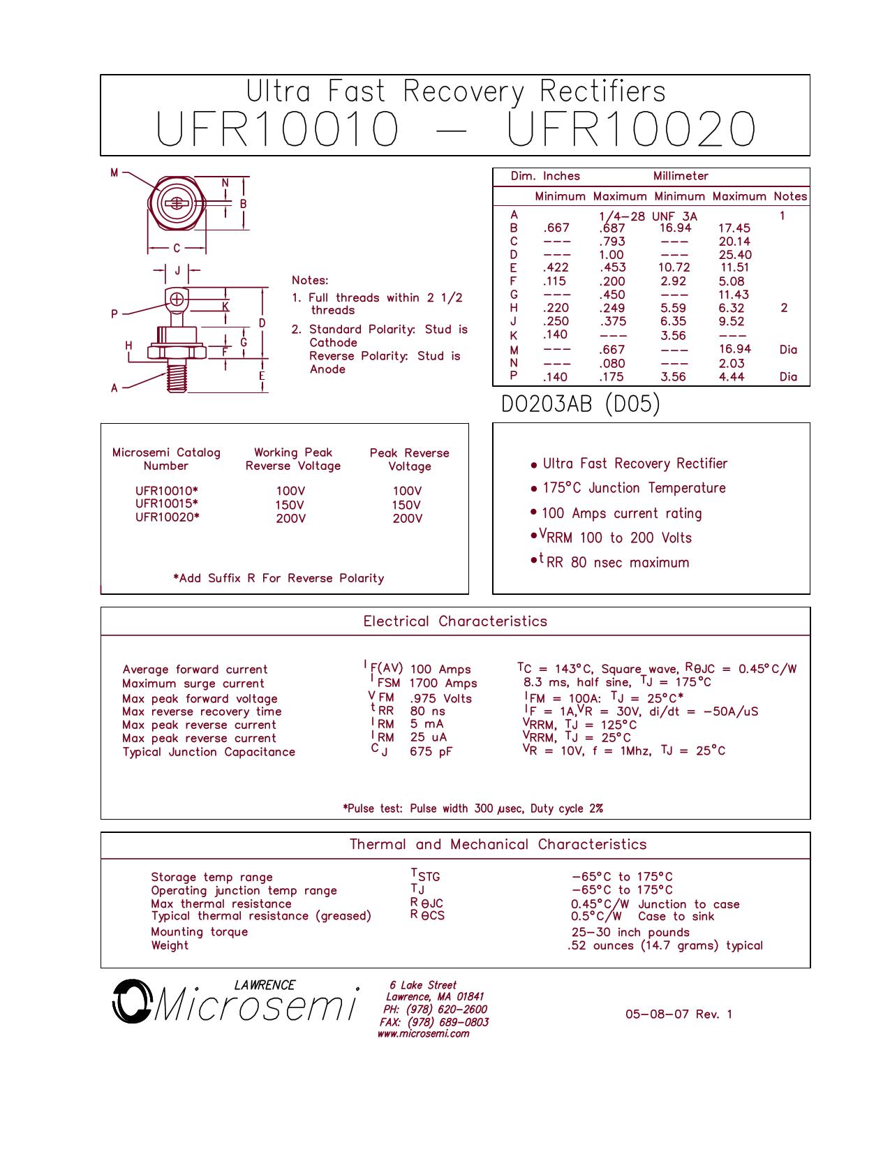 UFR10015 데이터시트 및 UFR10015 PDF