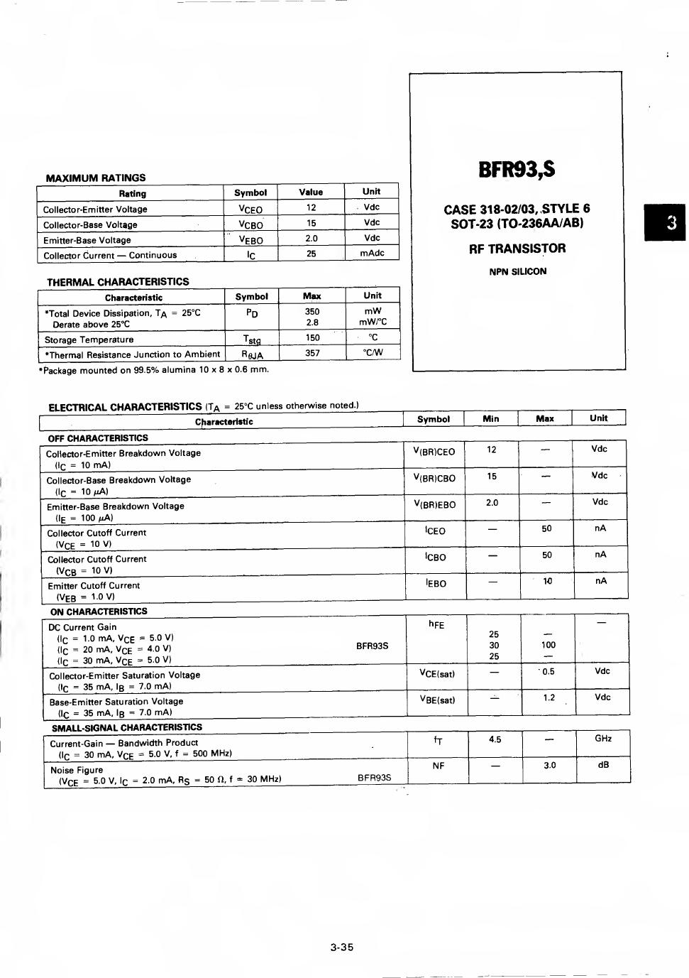 BFR93 데이터시트 및 BFR93 PDF