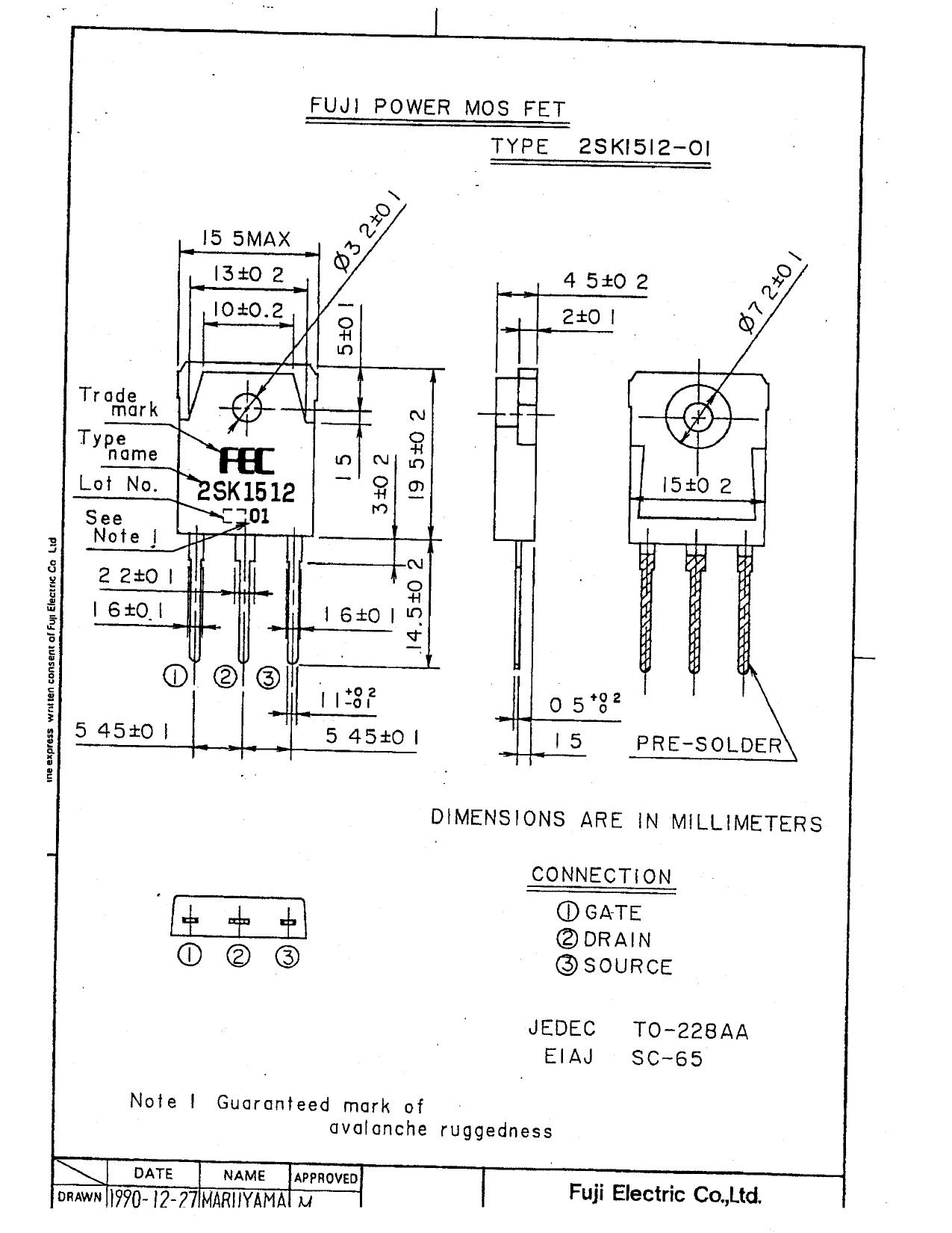 2SK1512-01 pdf, ピン配列