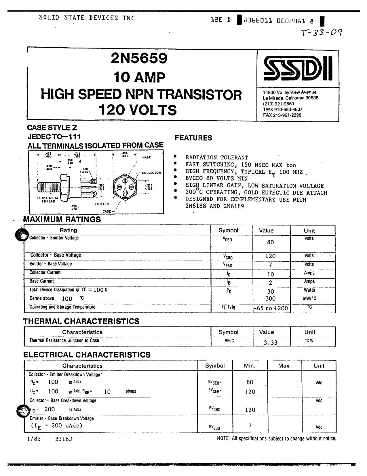 2N5659 دیتاشیت PDF