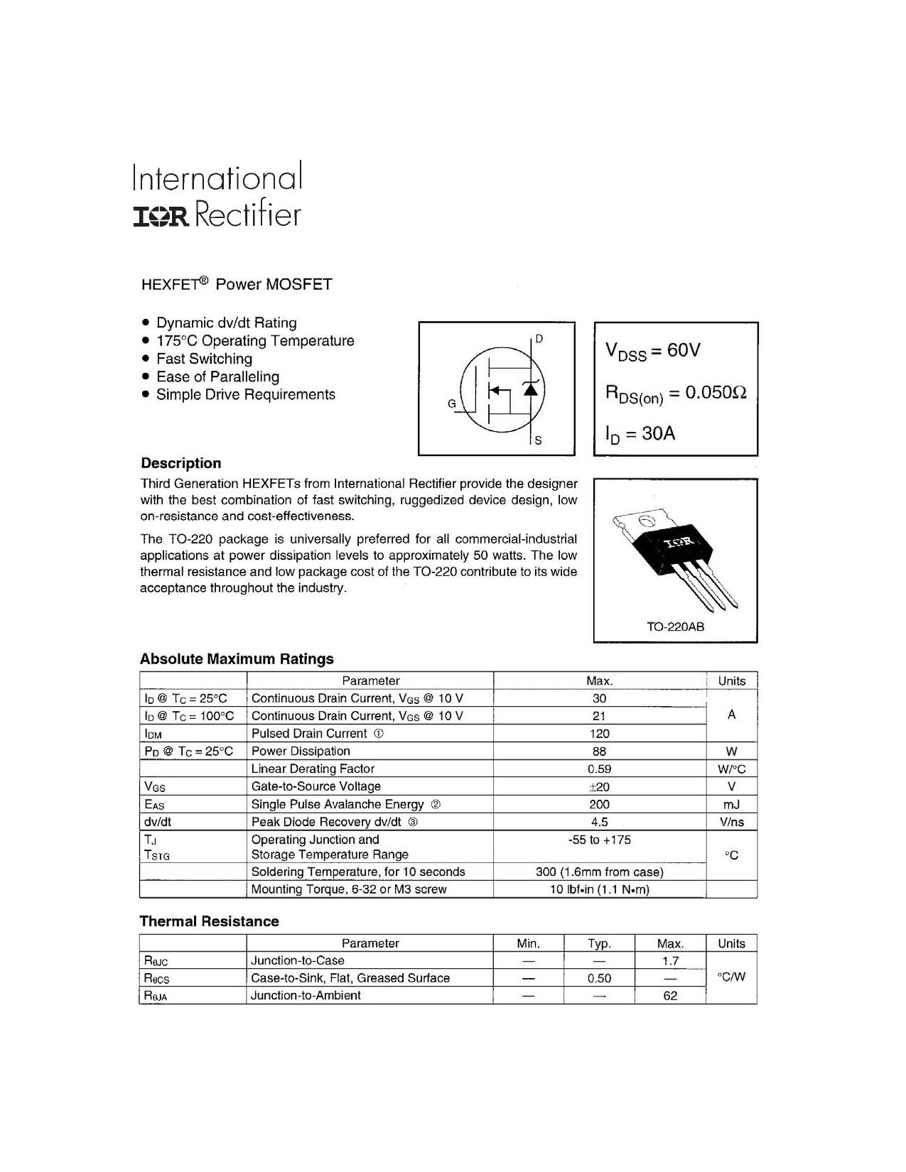 IRFZ34PbF Datasheet, IRFZ34PbF PDF,ピン配置, 機能