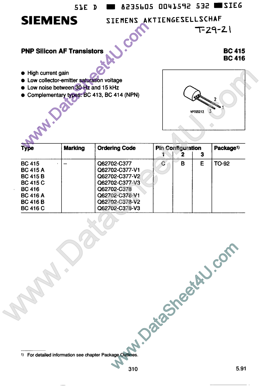 BC415A 데이터시트 및 BC415A PDF