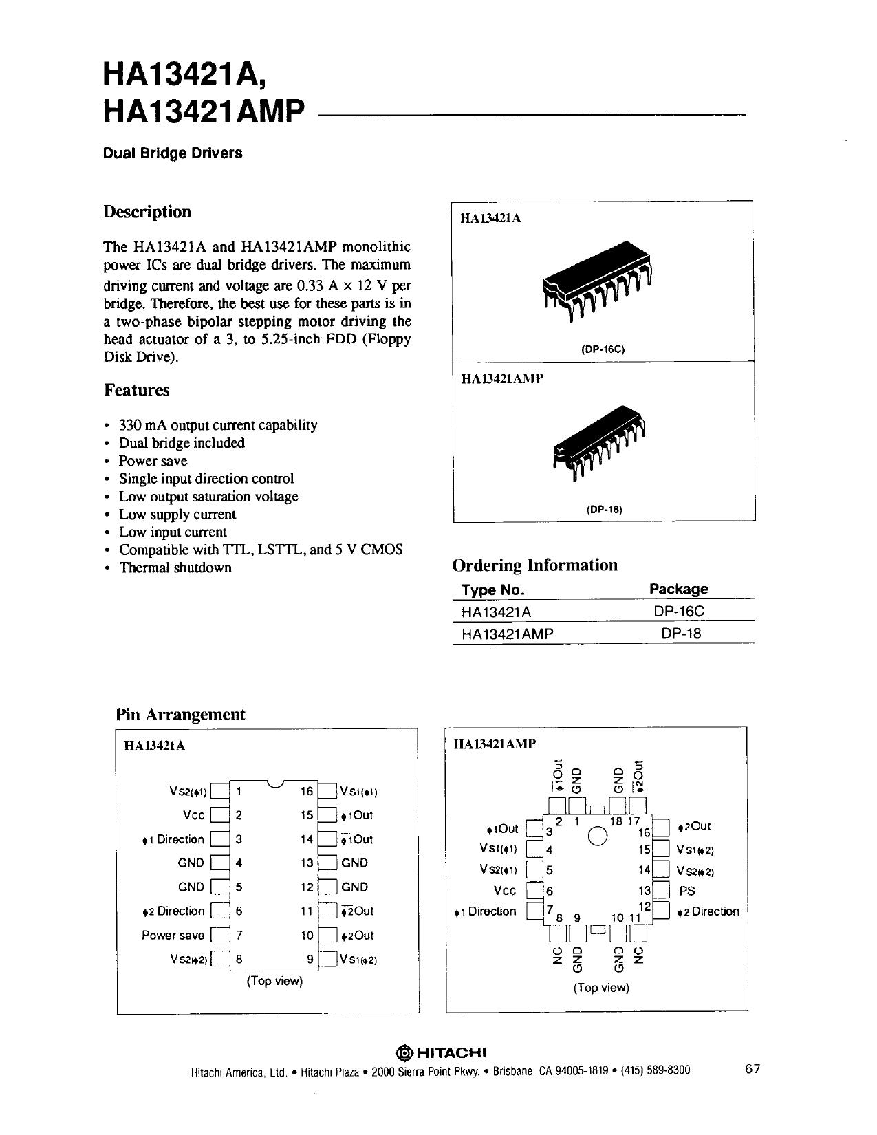 HA13421AMP دیتاشیت PDF