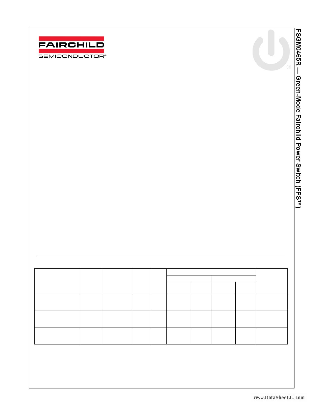 FSGM0465RWDTU datasheet