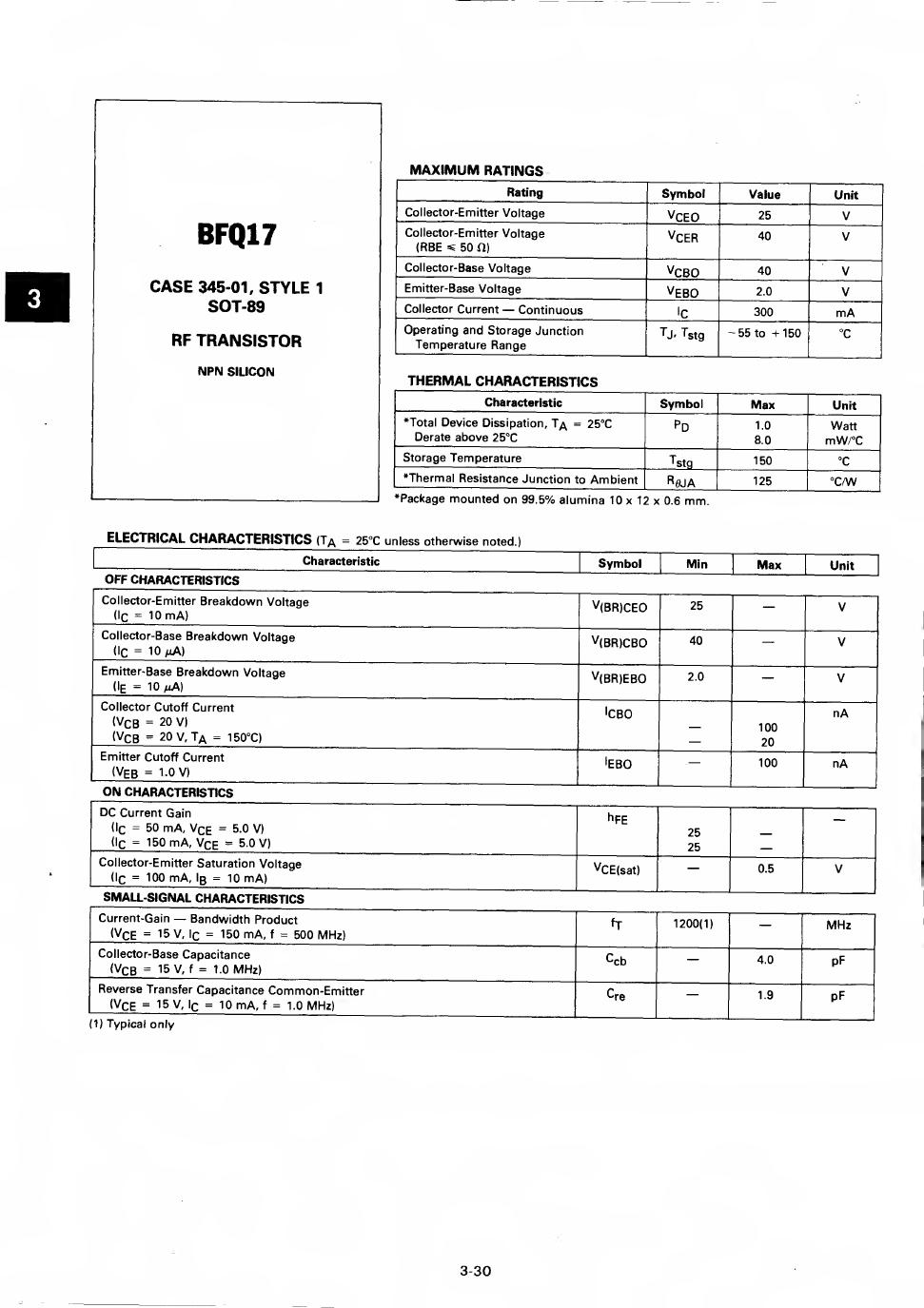BFQ17 데이터시트 및 BFQ17 PDF