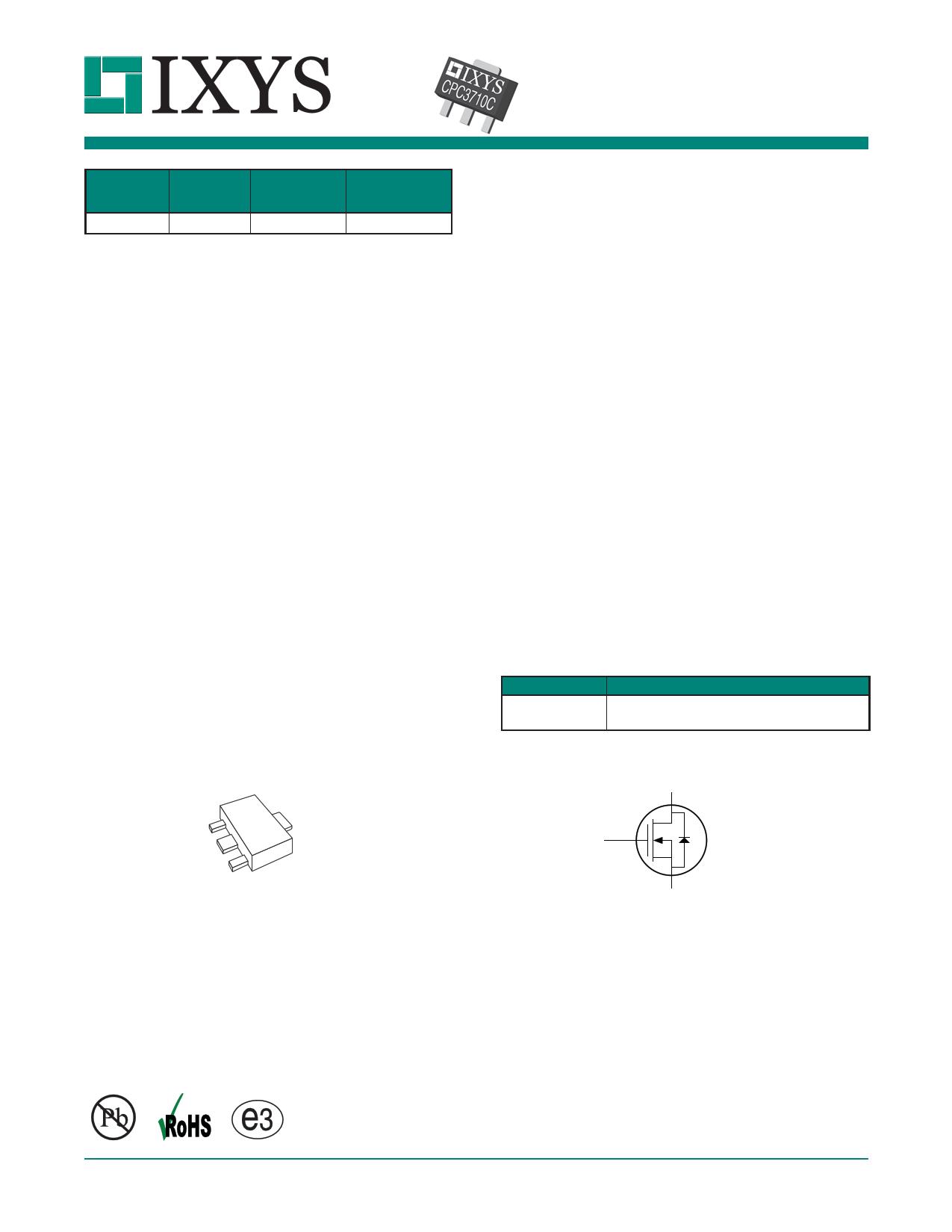 CPC3710 Datasheet, CPC3710 PDF,ピン配置, 機能