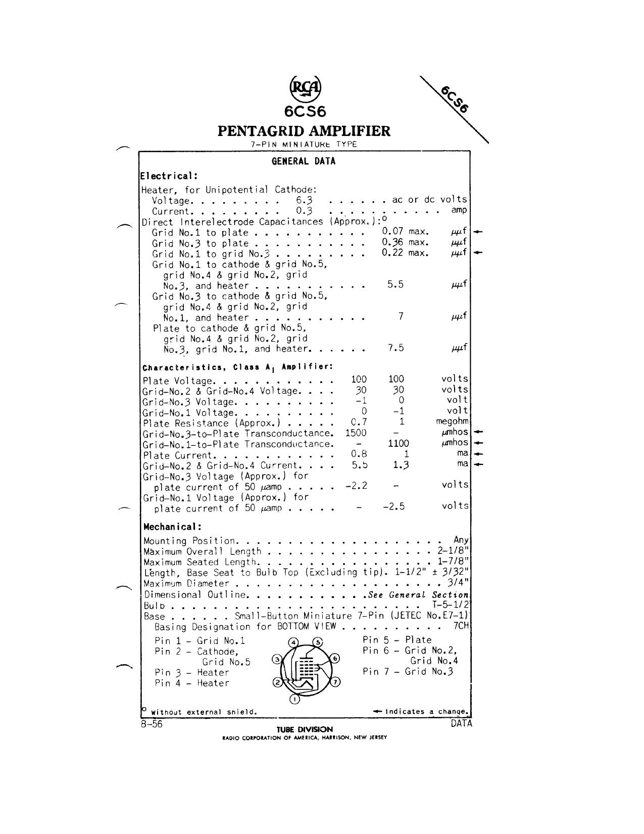 6CS6 Datasheet, 6CS6 PDF,ピン配置, 機能