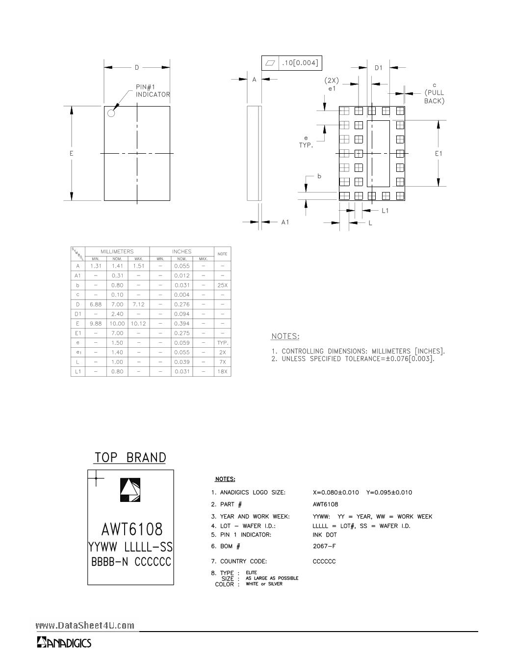 AWT6108 diode, scr
