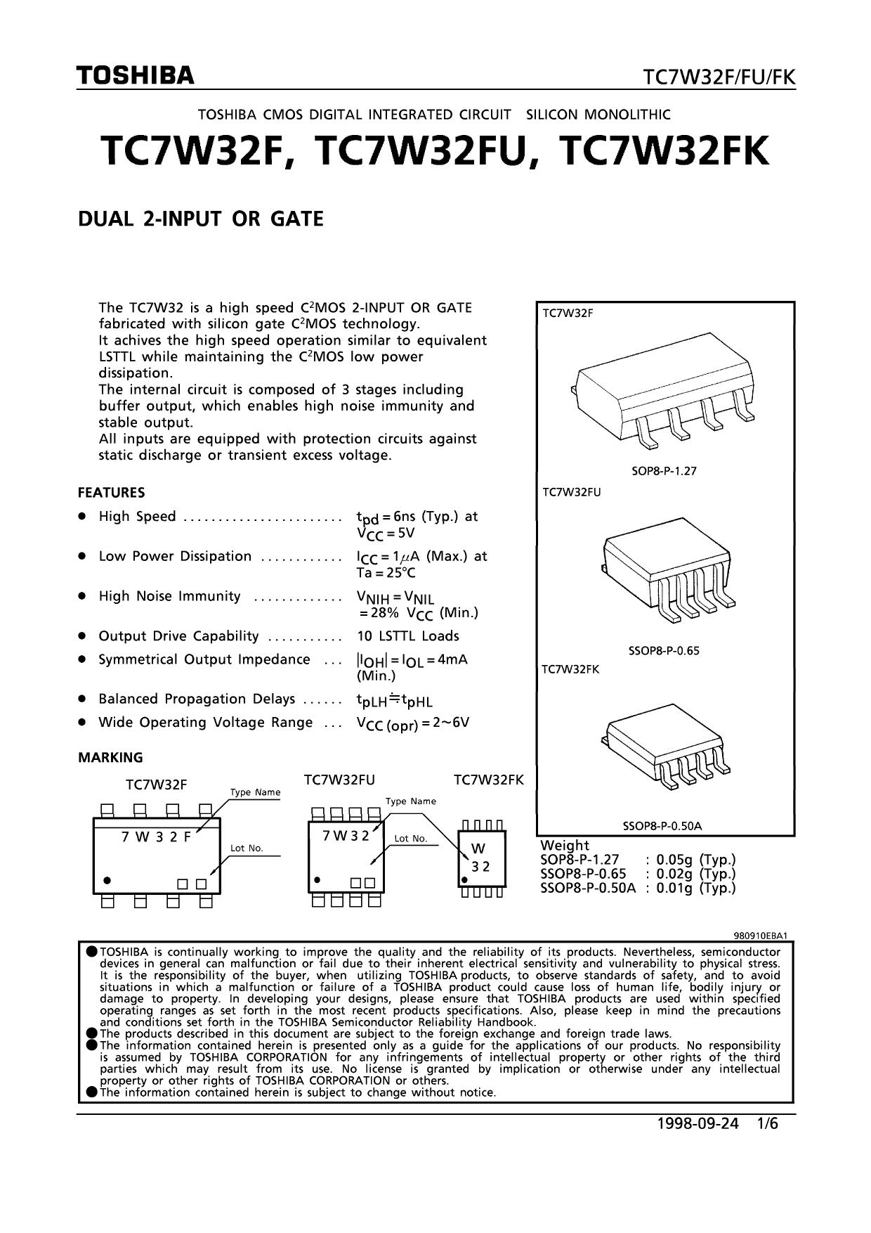 TC7W32FU دیتاشیت PDF