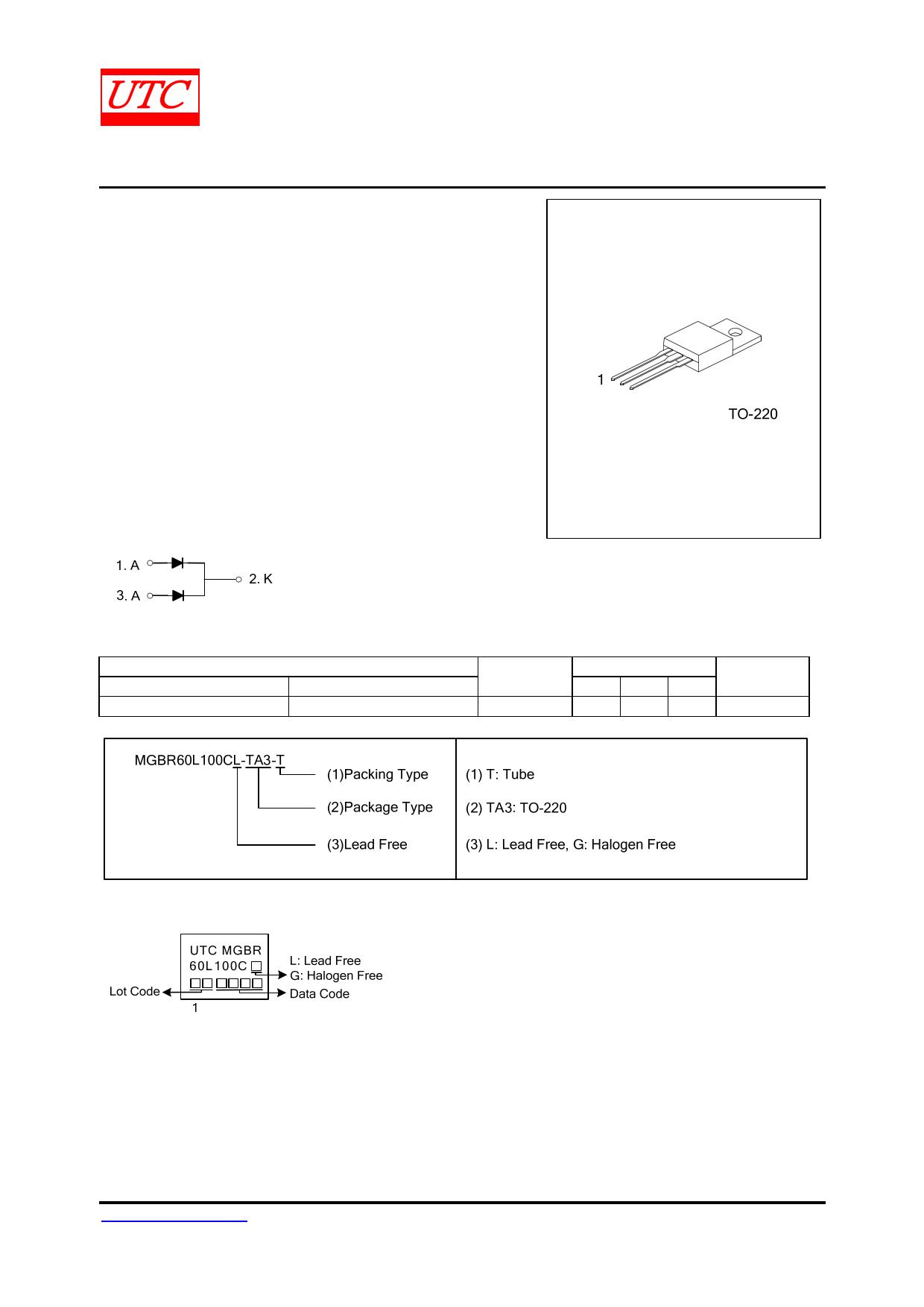 MGBR60L100C Datasheet, MGBR60L100C PDF,ピン配置, 機能