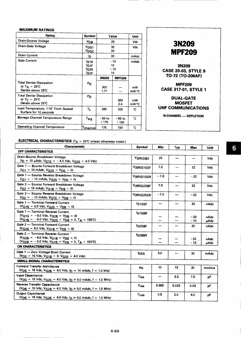 3n209 datasheet pdf   pinout
