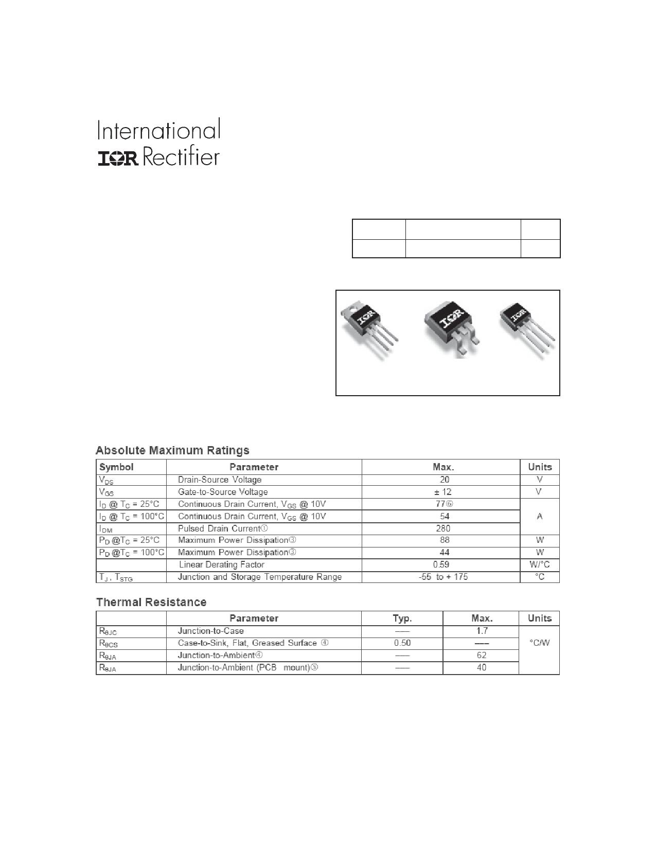 IRF3706SPbF Datasheet, IRF3706SPbF PDF,ピン配置, 機能