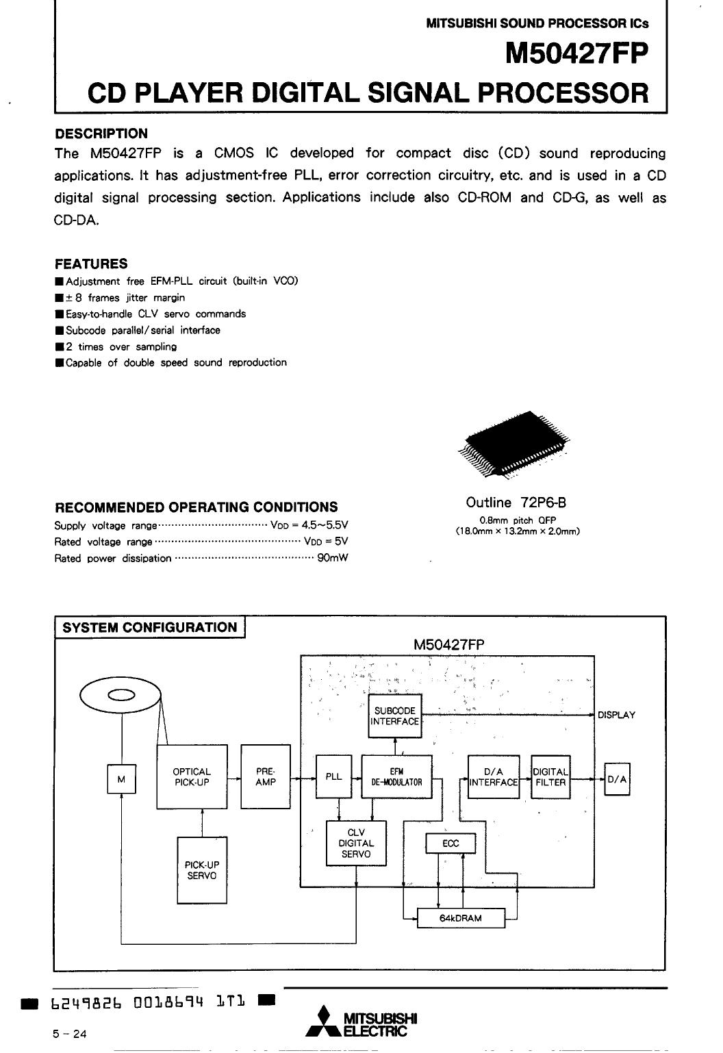 M50427FP دیتاشیت PDF