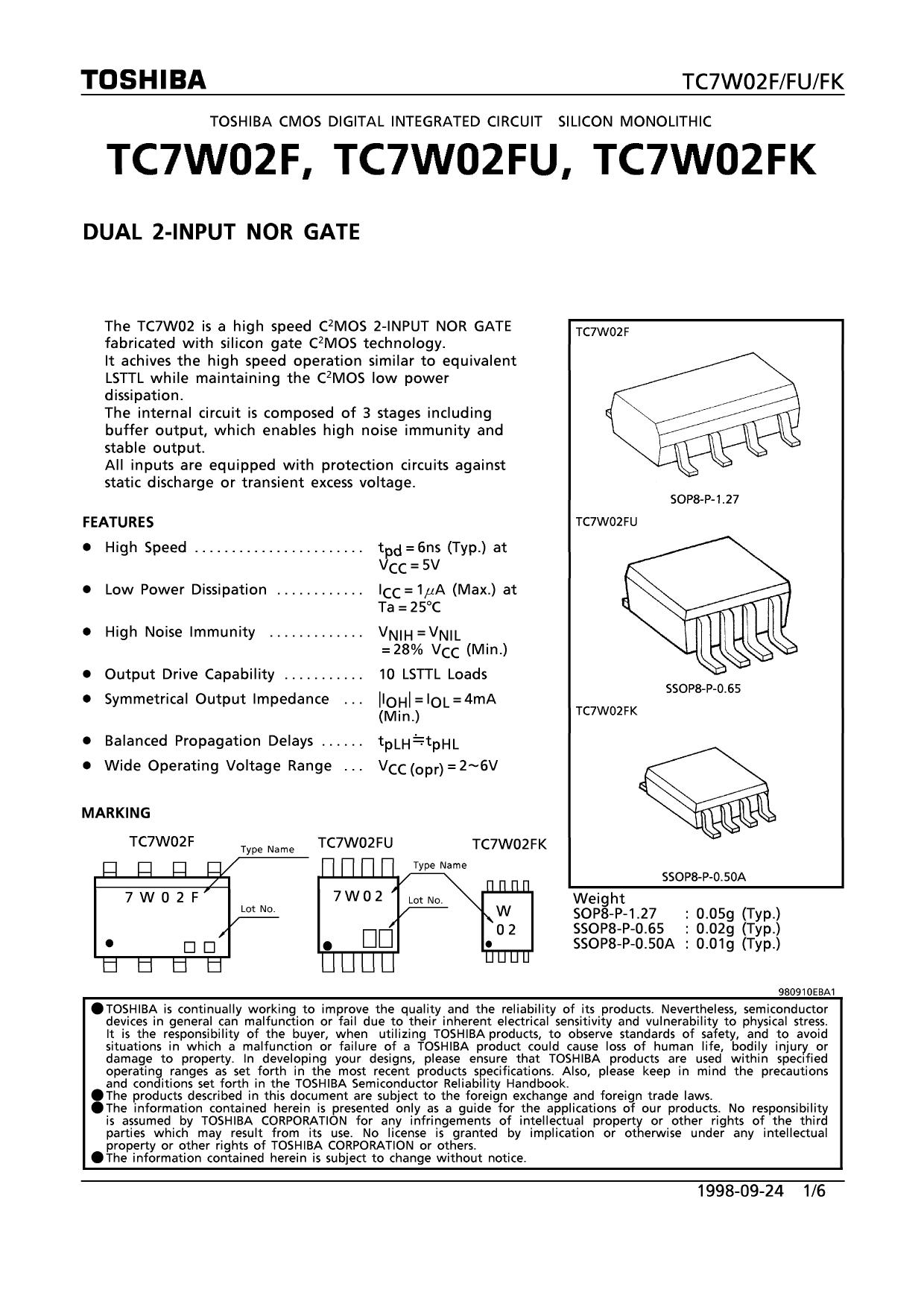 TC7W02 دیتاشیت PDF