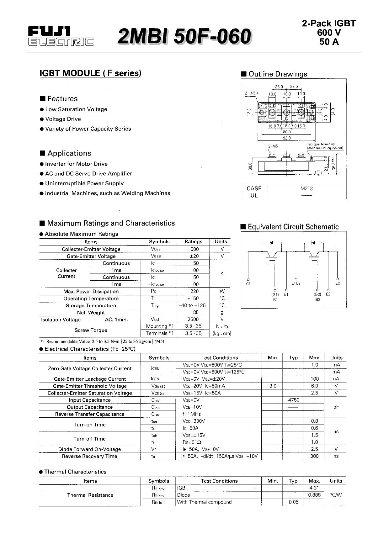 2MBI50F-060 دیتاشیت PDF