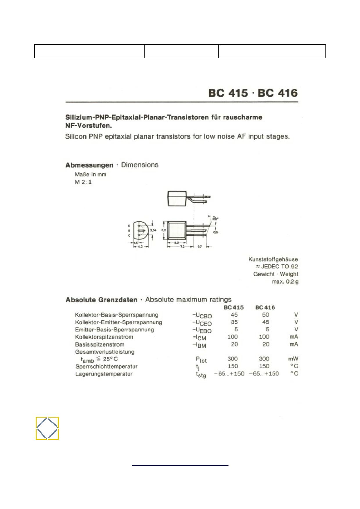 BC416 데이터시트 및 BC416 PDF