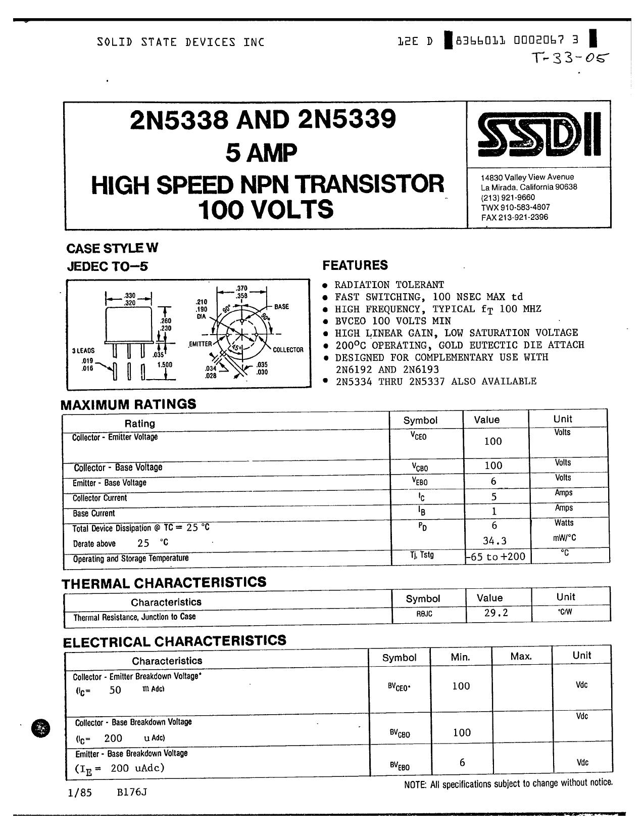 2N5339 دیتاشیت PDF