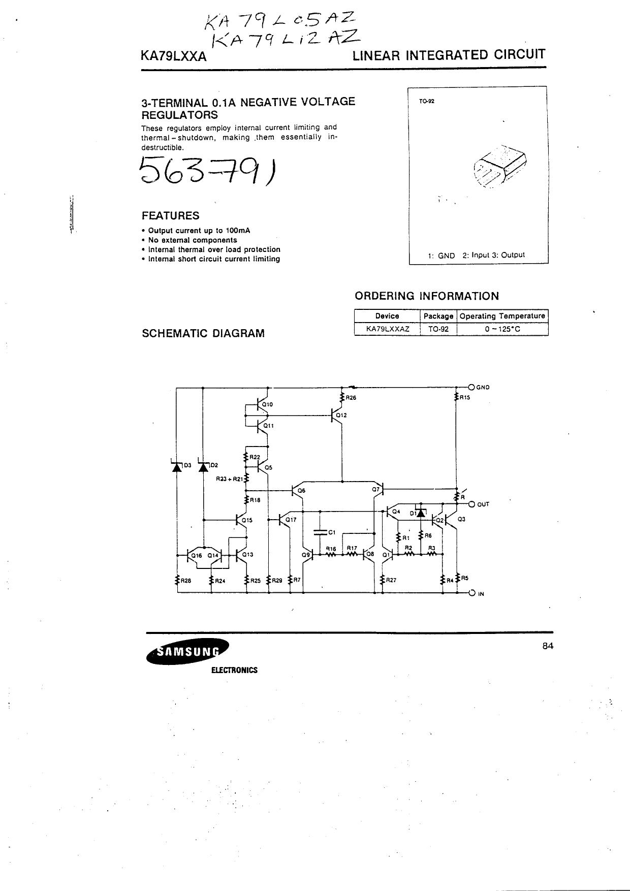 KA79LXXA Datasheet, KA79LXXA PDF,ピン配置, 機能