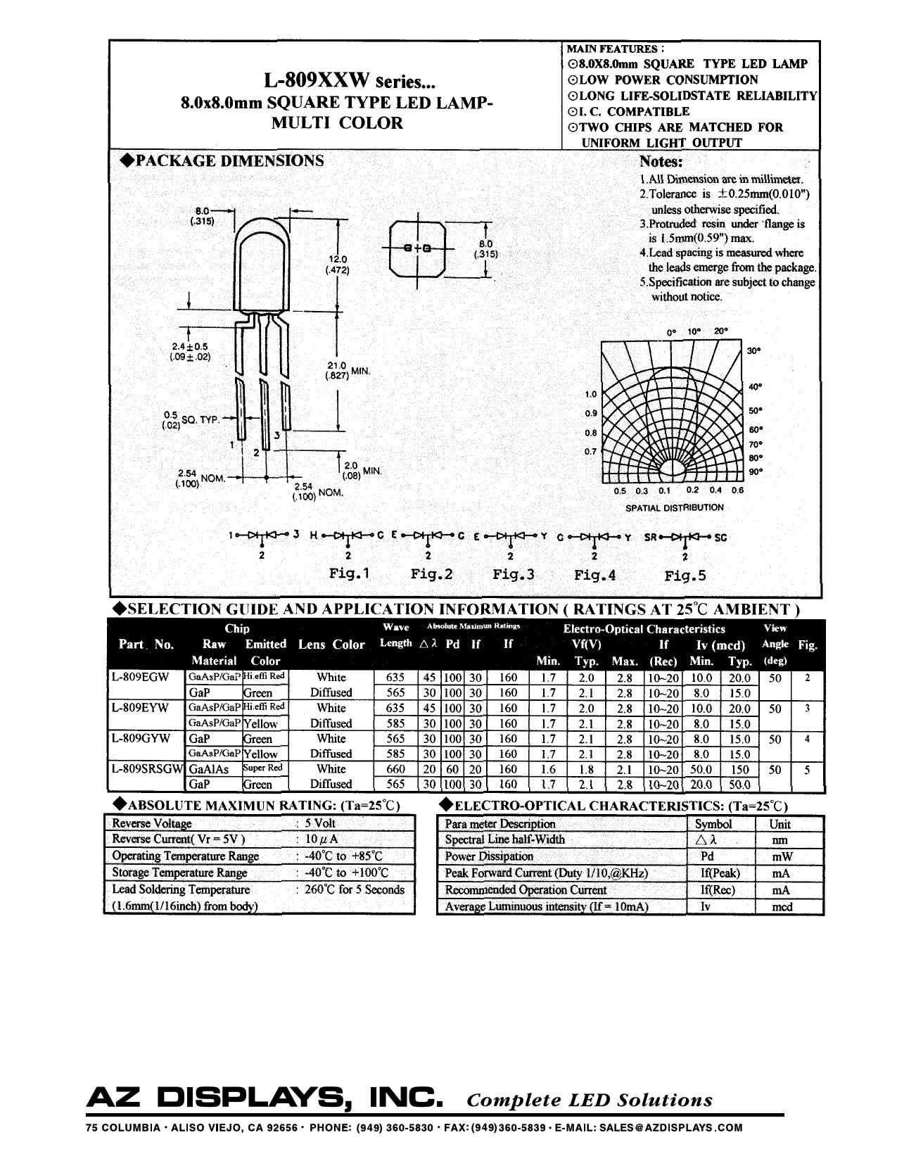 L-809SRSGW دیتاشیت PDF
