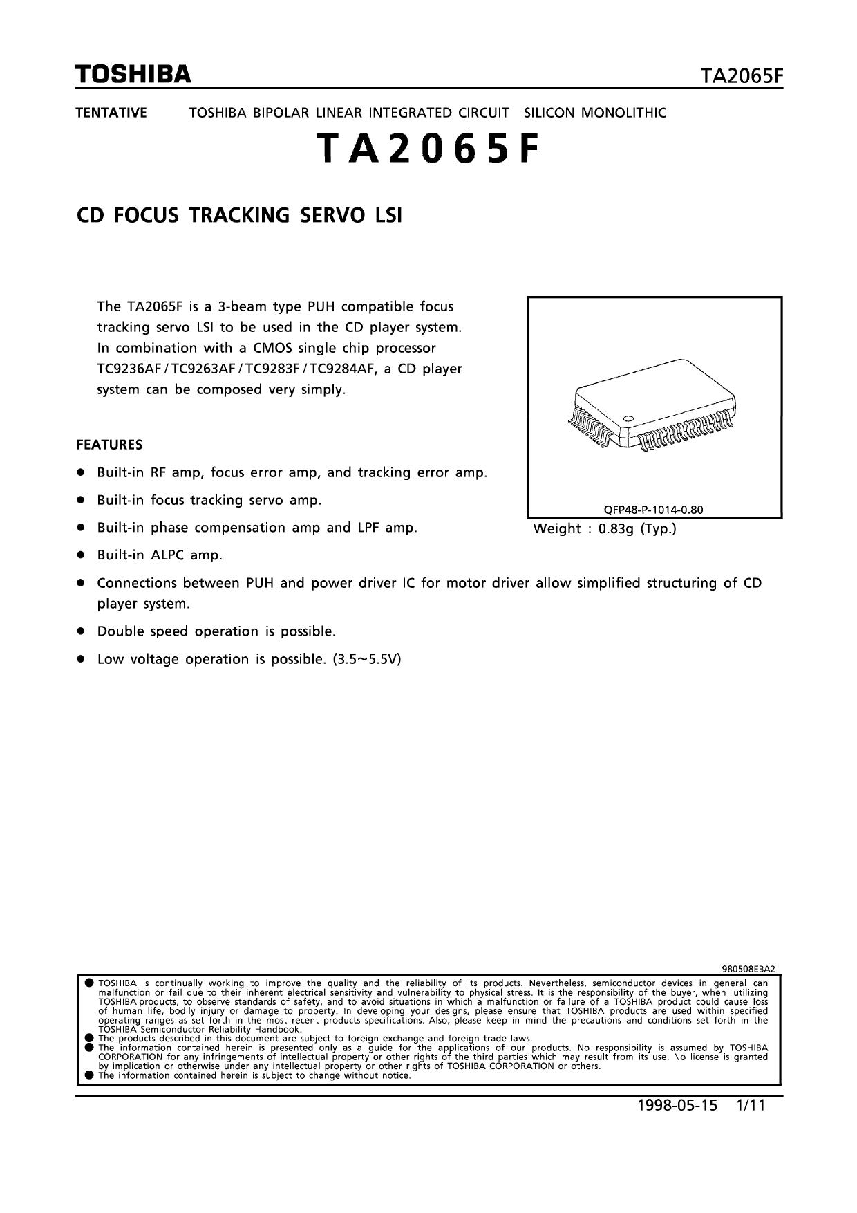TA2065F دیتاشیت PDF