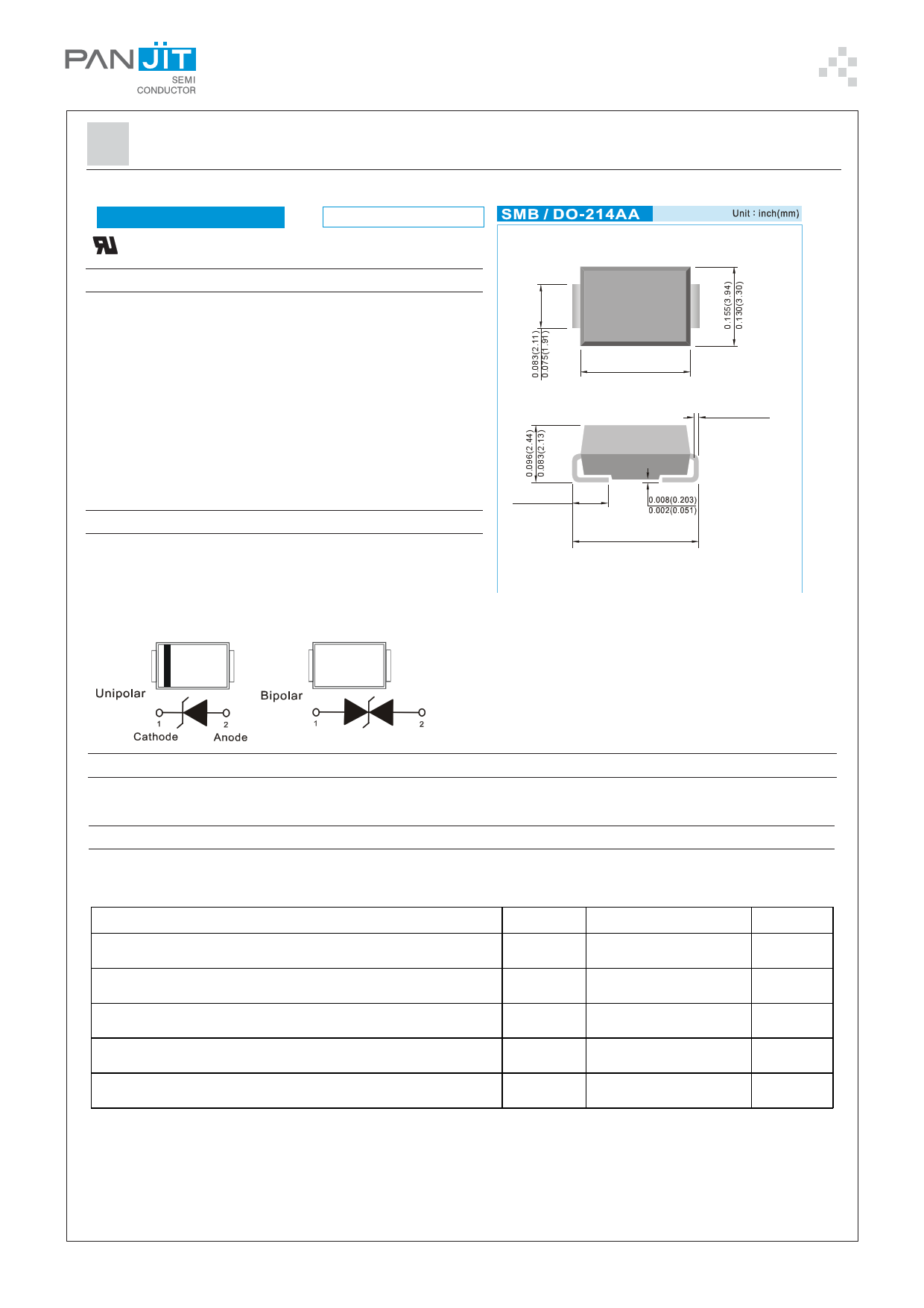 P6SMBJ43C-AU دیتاشیت PDF