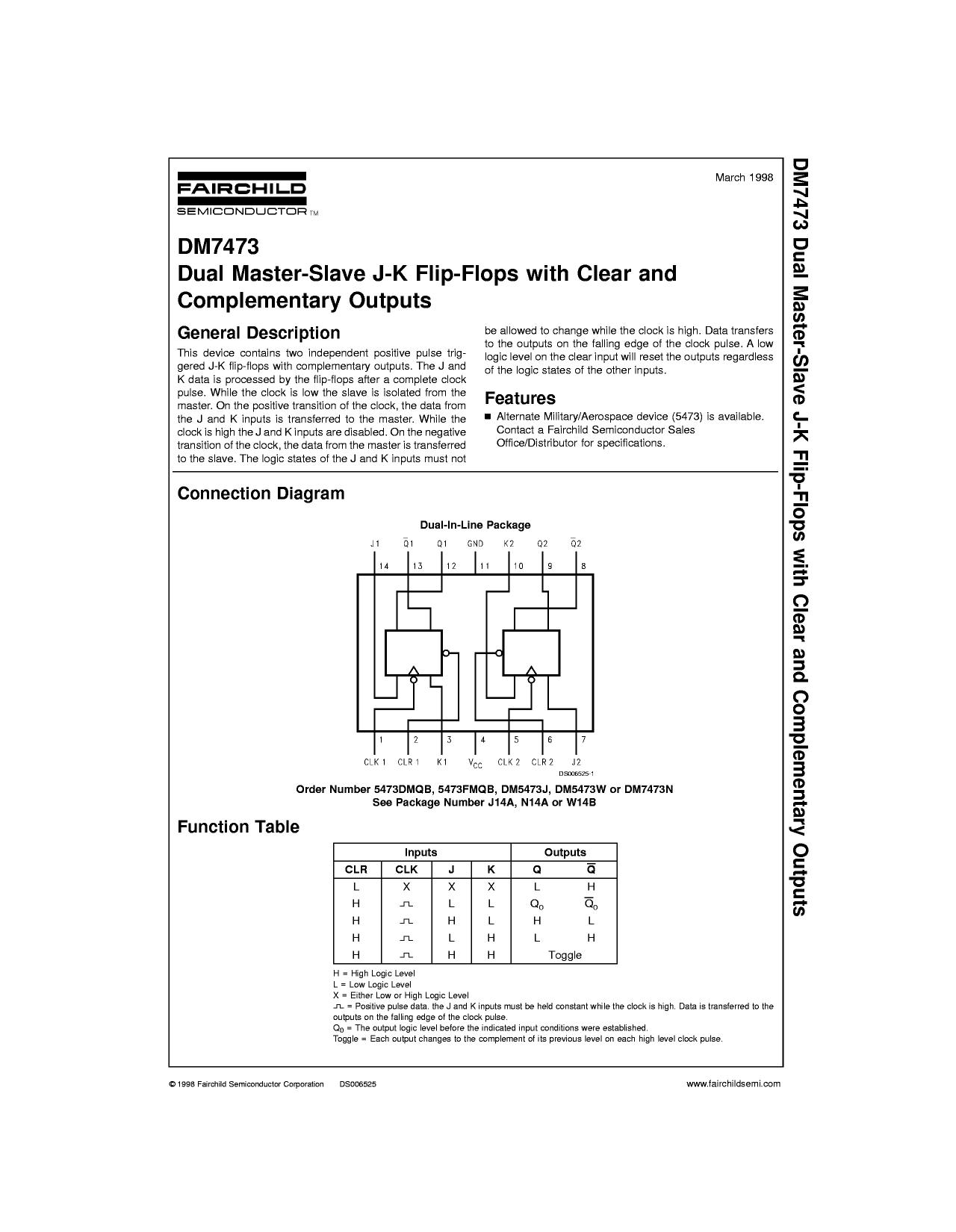 7473 datasheet pdf pinout dual master slave j k f f. Black Bedroom Furniture Sets. Home Design Ideas