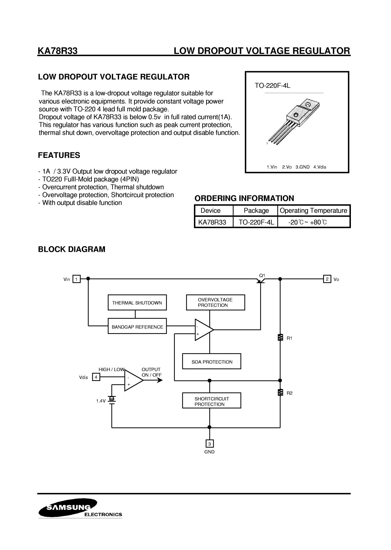 KA78R33 Datasheet, KA78R33 PDF,ピン配置, 機能