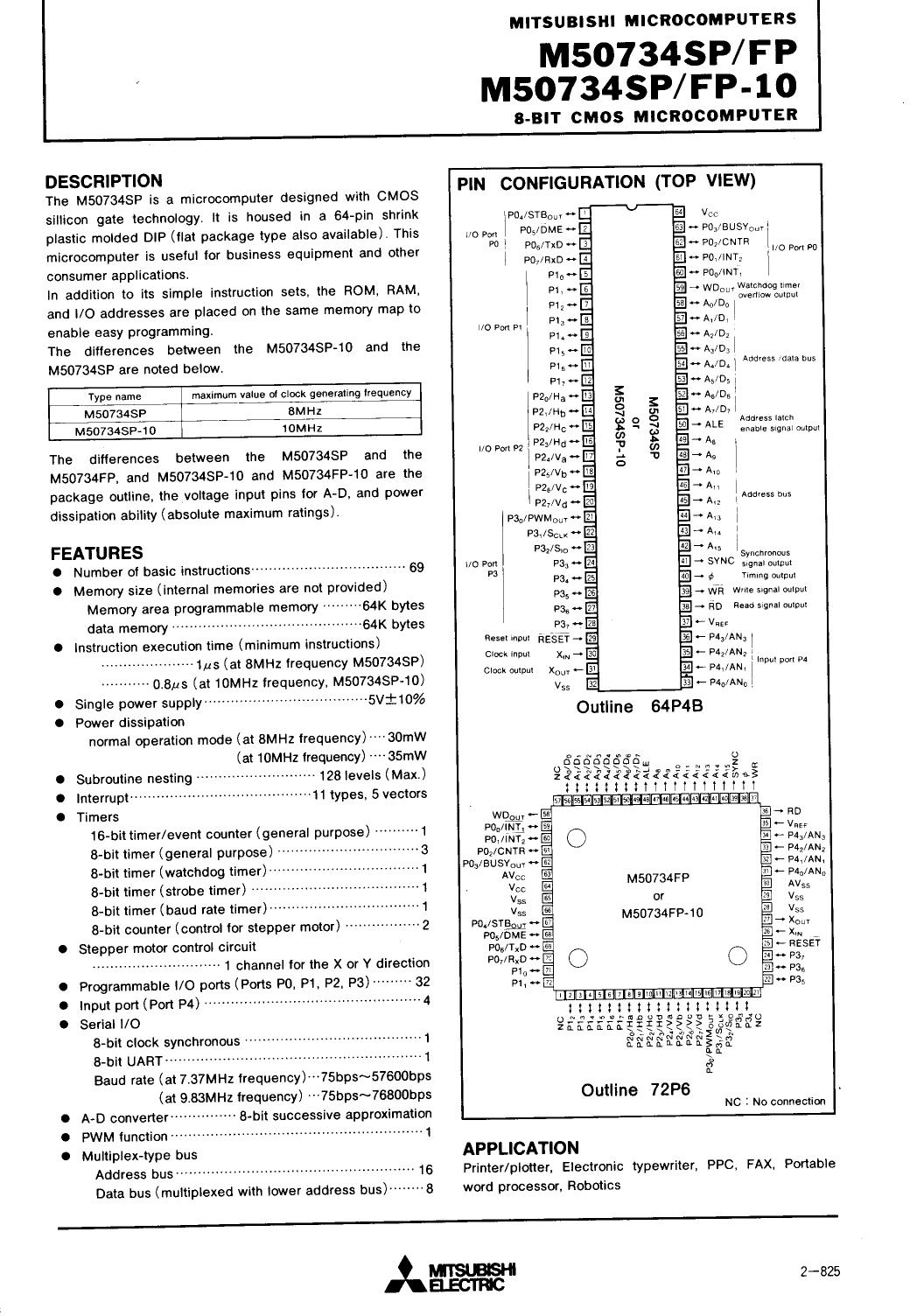 M50734FP-10 دیتاشیت PDF