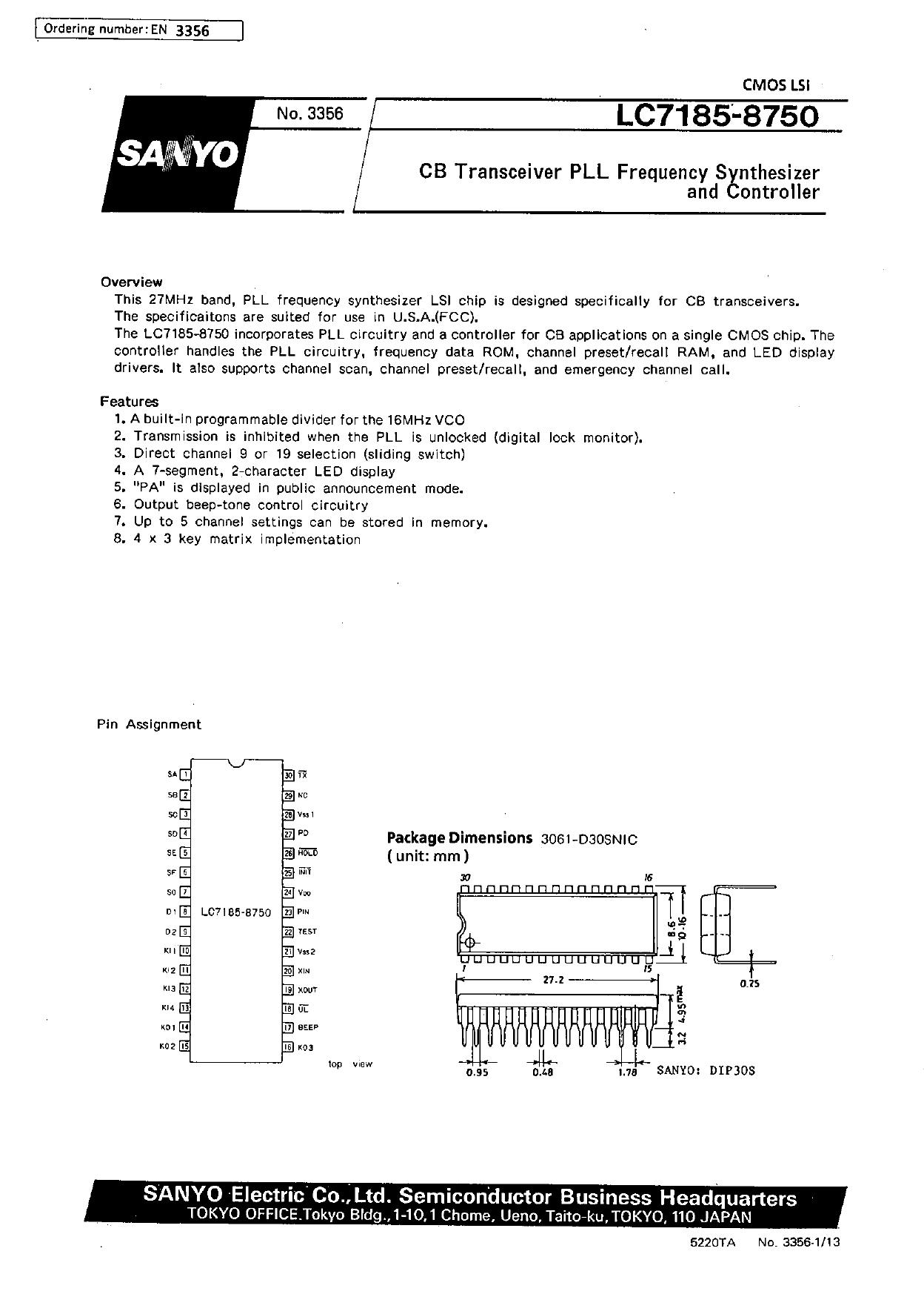 LC7185 Datasheet, LC7185 PDF,ピン配置, 機能