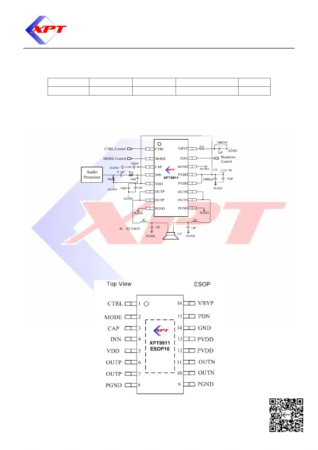 XPT9911 pdf, schematic