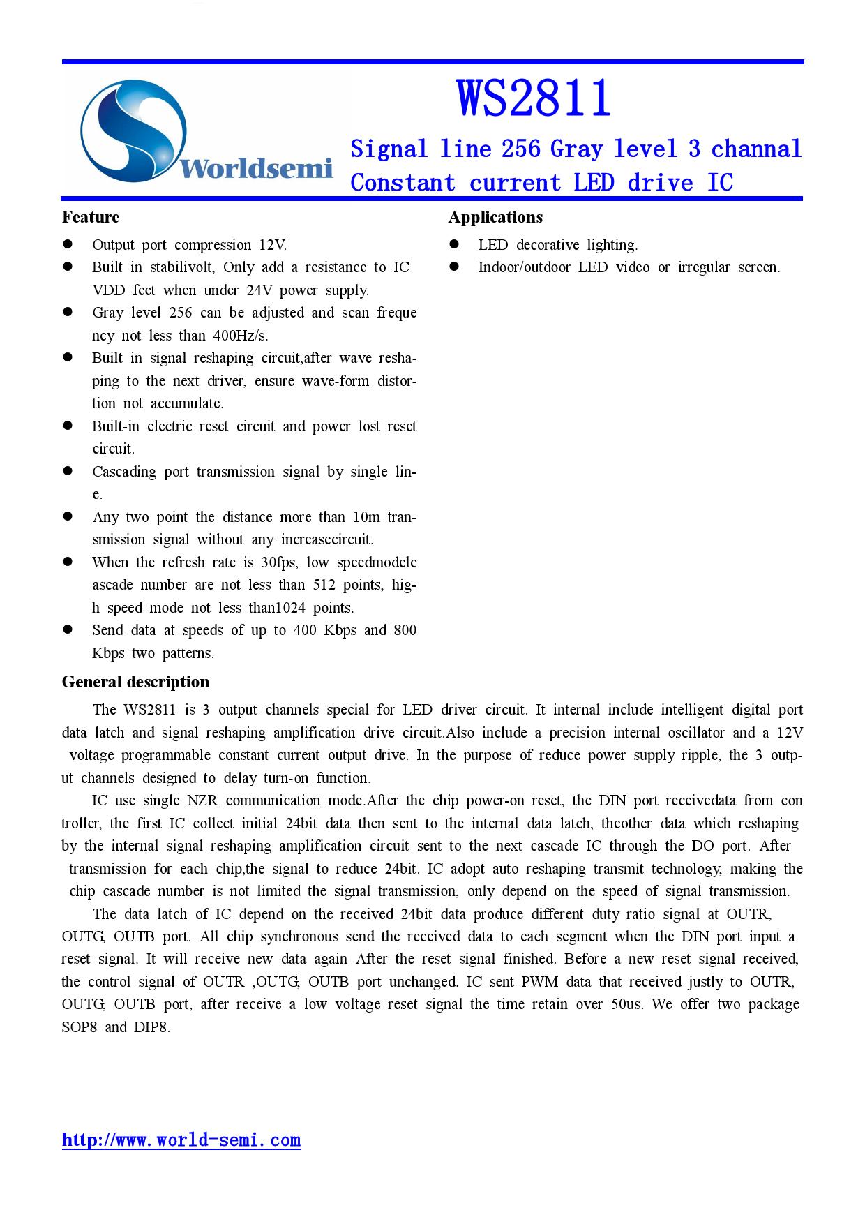 WS2811 datasheet pinout
