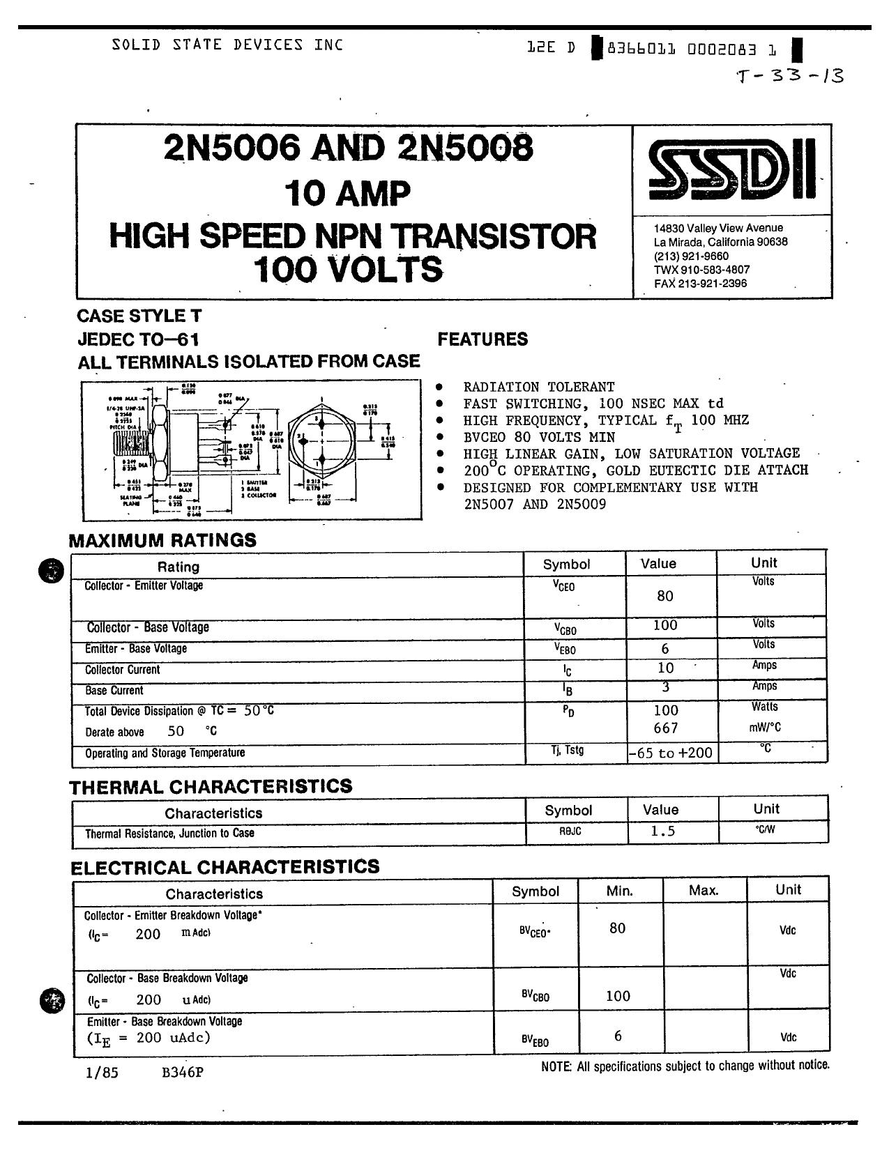 2N5008 دیتاشیت PDF