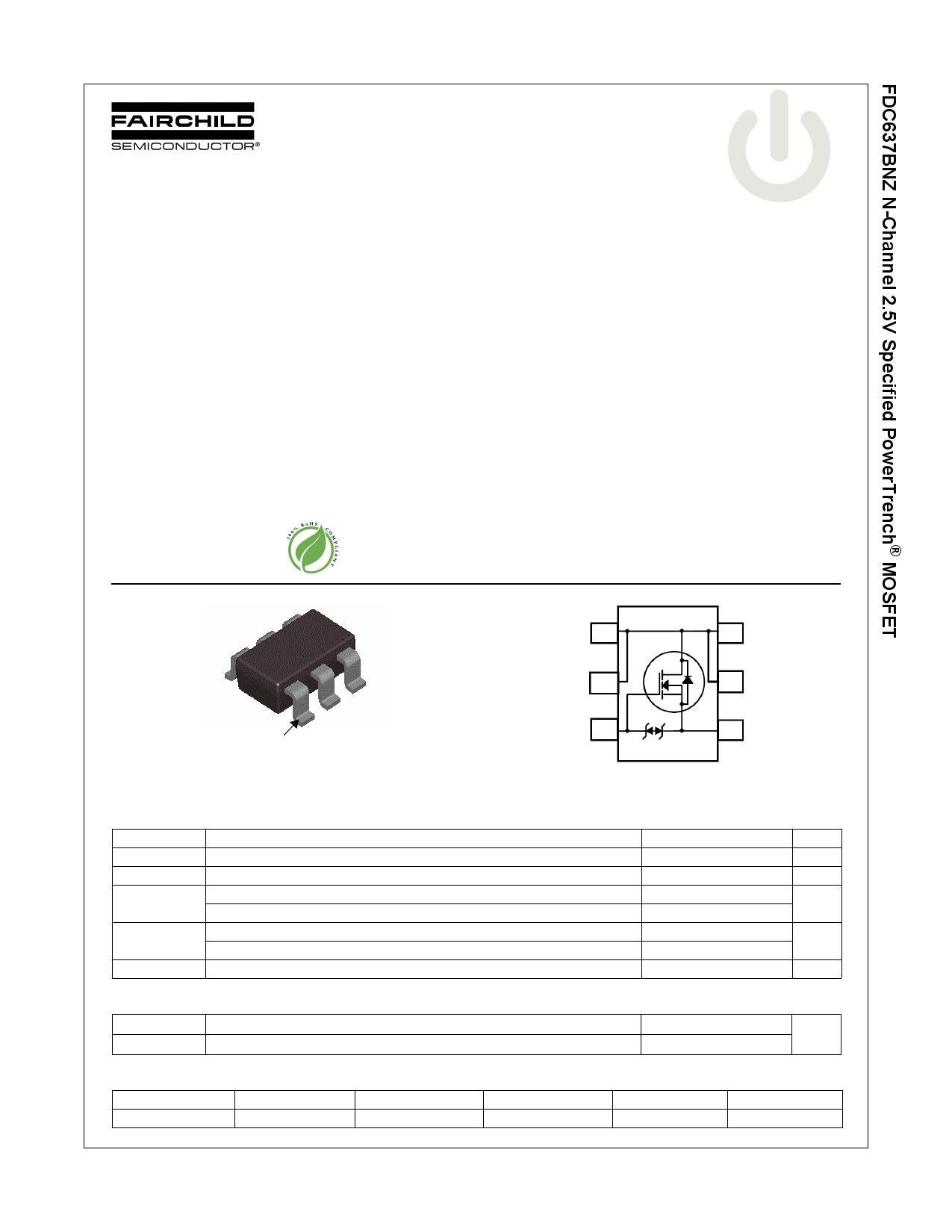 FDC637BNZ 데이터시트 및 FDC637BNZ PDF