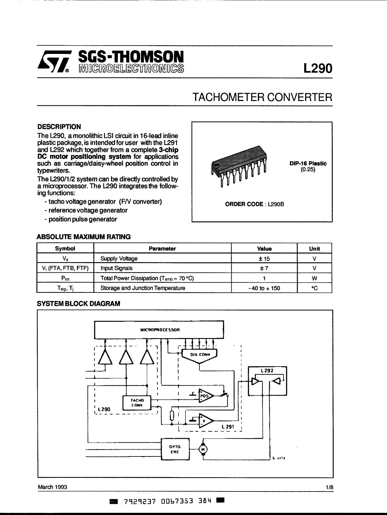L-290 Hoja de datos, Descripción, Manual