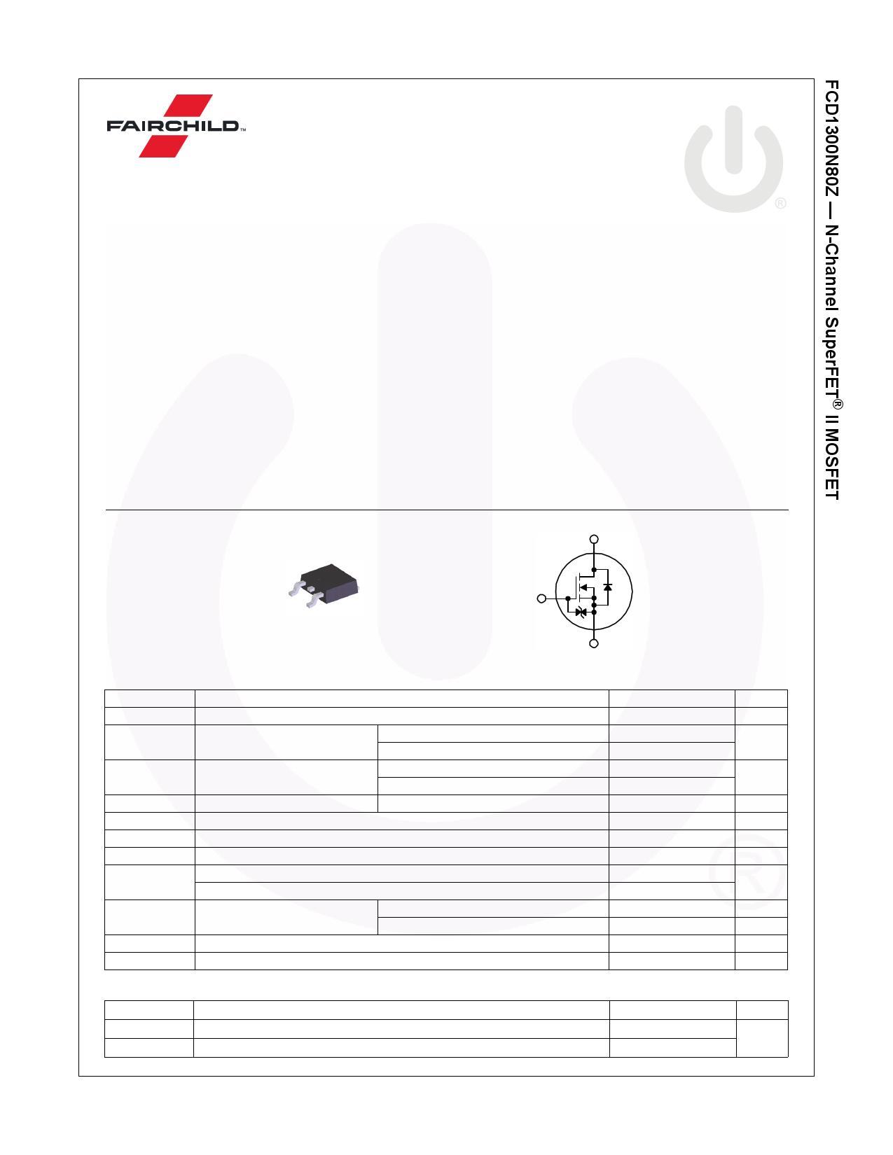 FCD1300N80Z Даташит, Описание, Даташиты