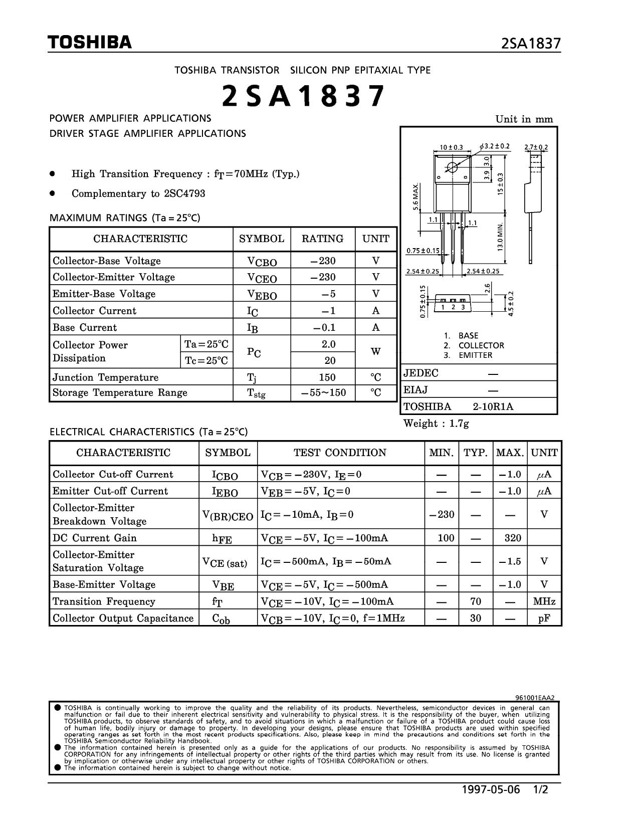 2SC1837 datasheet