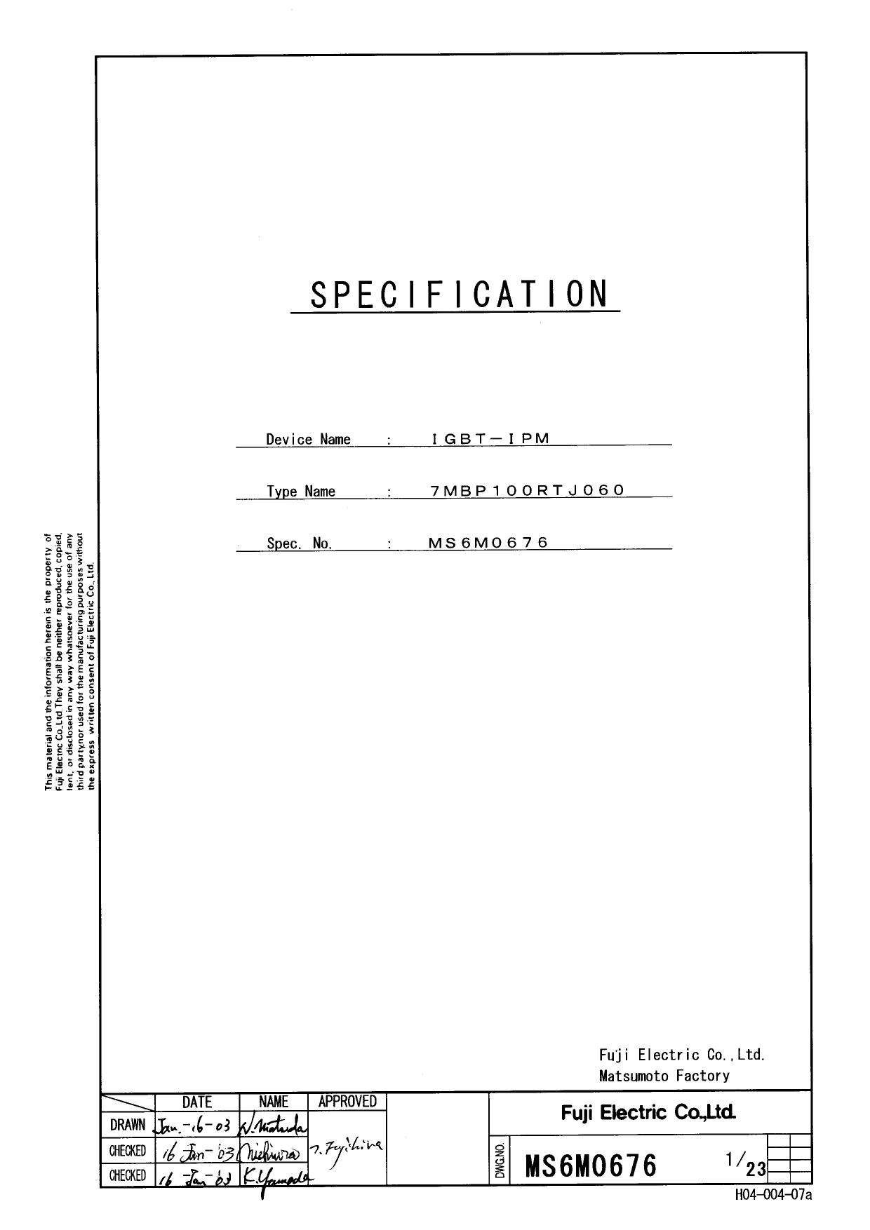 7MBP100RTJ060 دیتاشیت PDF