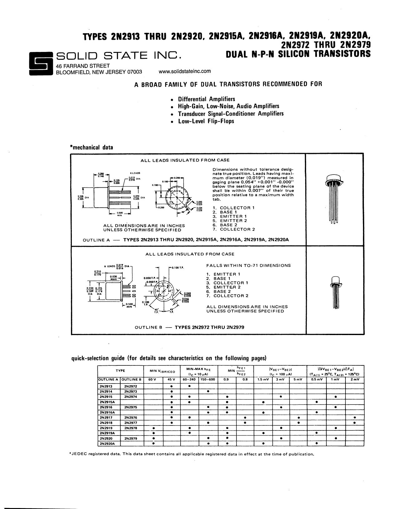 2N2978 دیتاشیت PDF