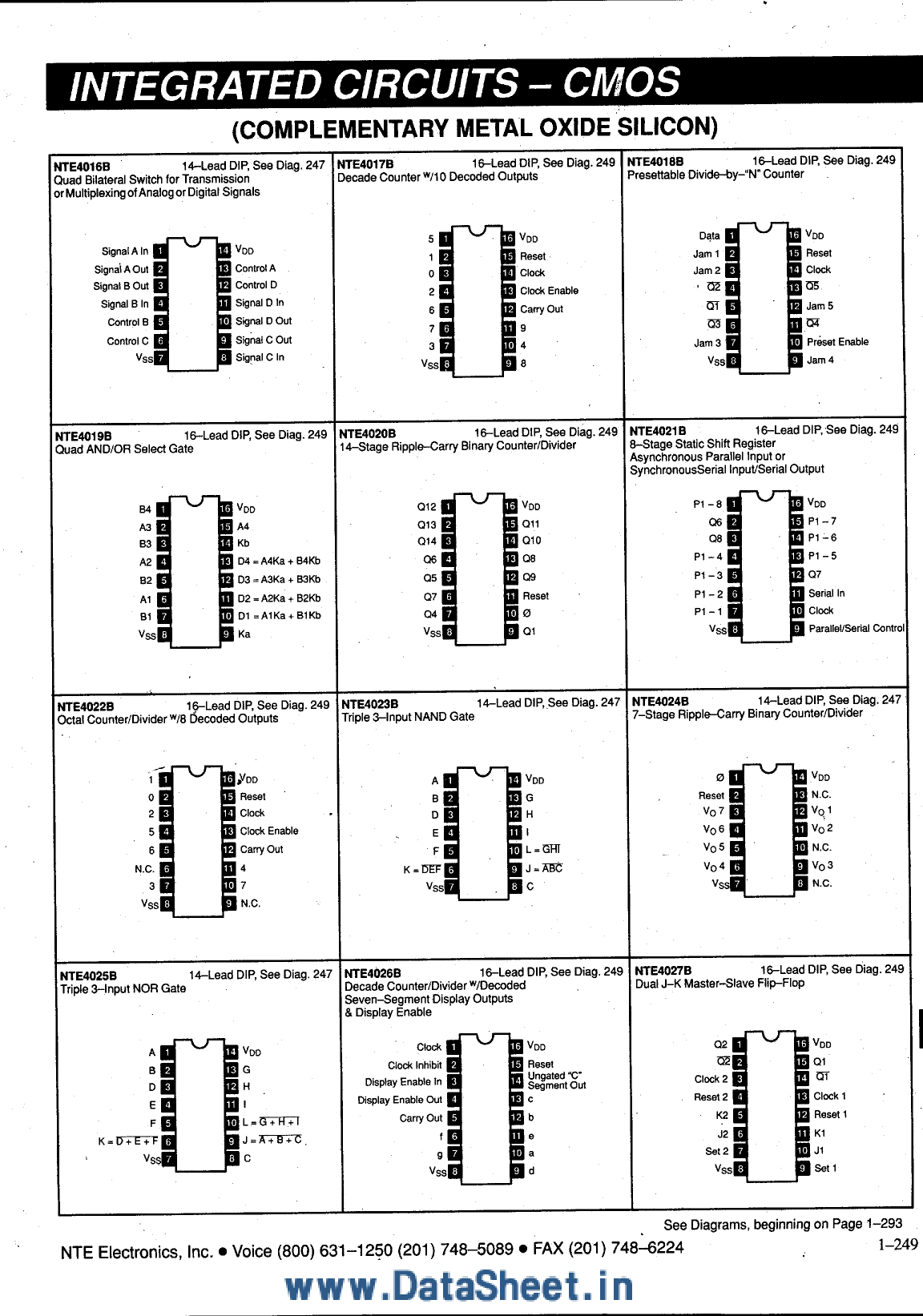 nte4020b datasheet pdf   pinout   -  nte4016b
