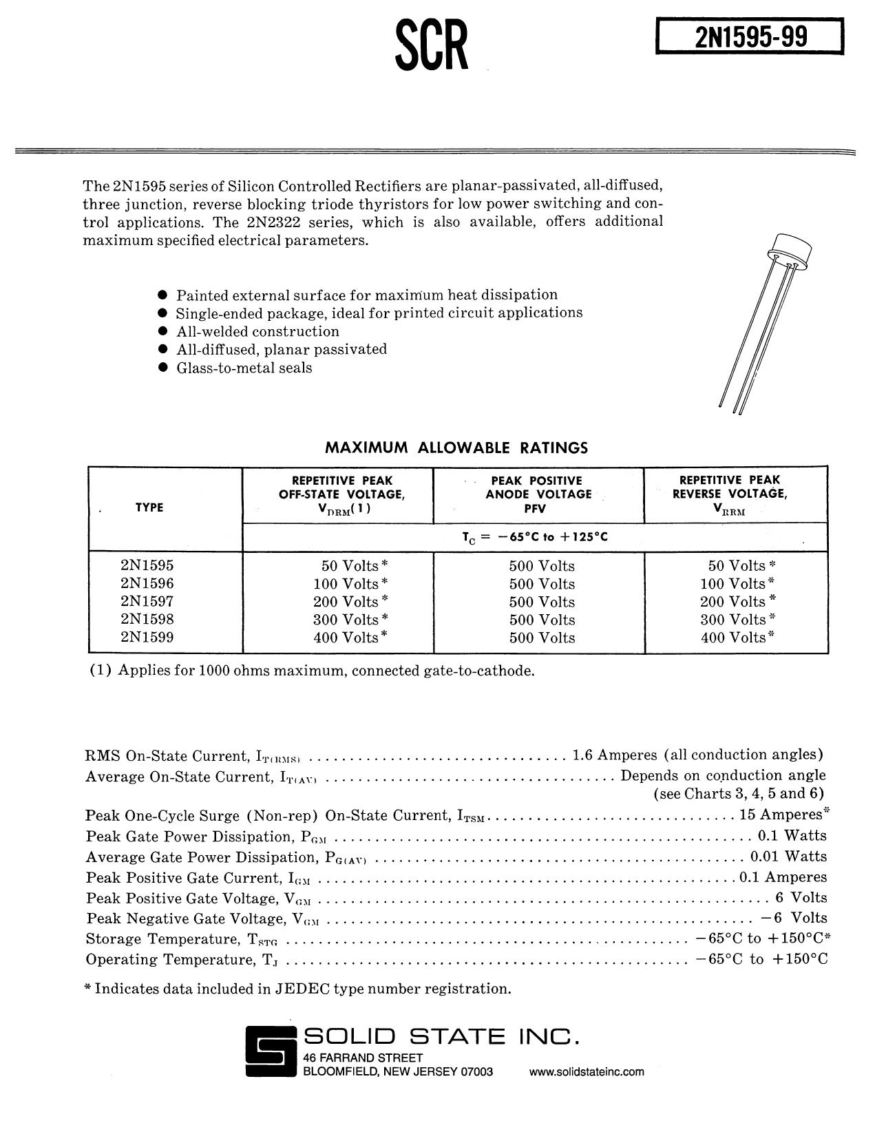 2N1595 Datasheet, ピン配置, 機能