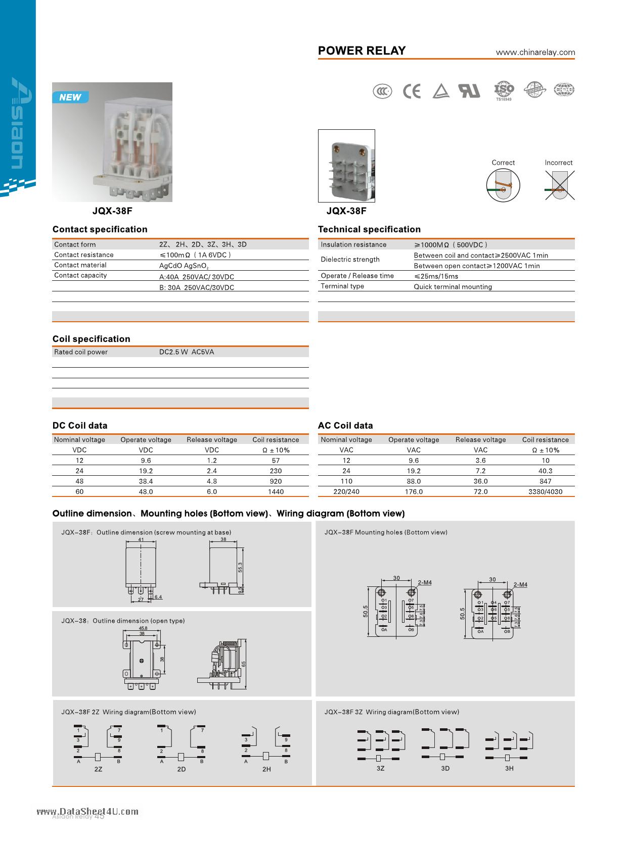 JQX-38F دیتاشیت PDF