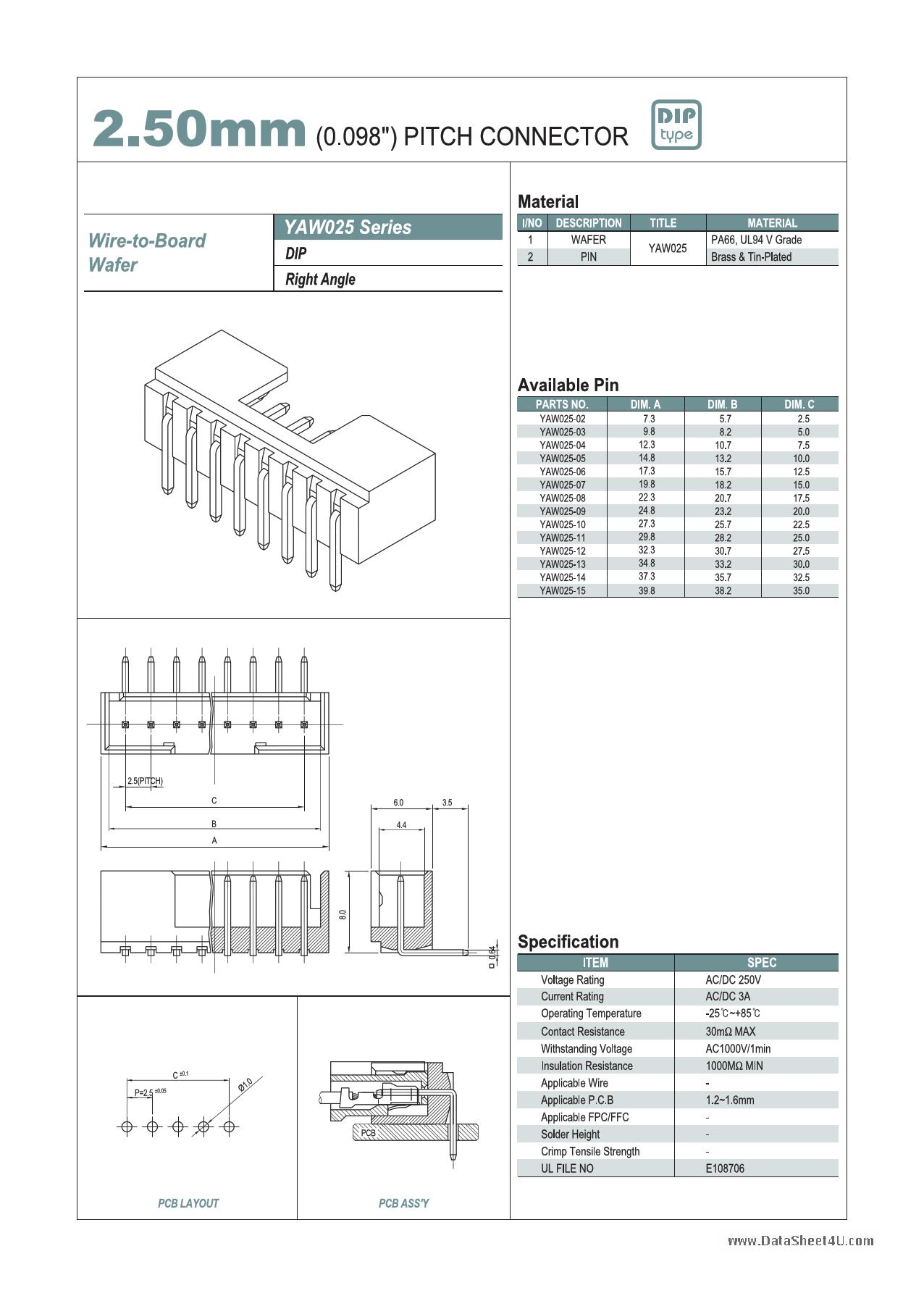 YAW025 دیتاشیت PDF
