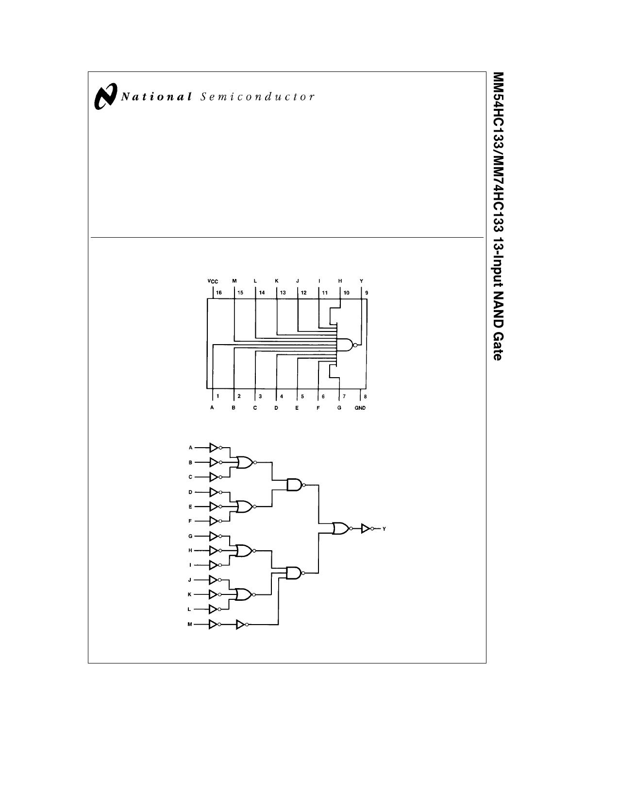 MM54HC133 데이터시트 및 MM54HC133 PDF