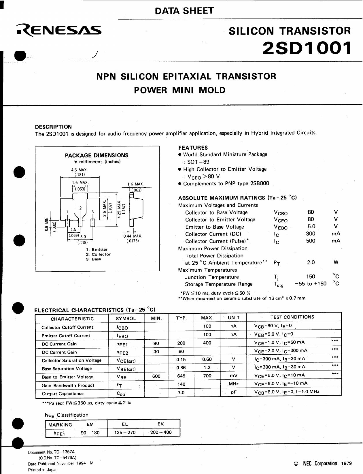 D1001 даташит PDF