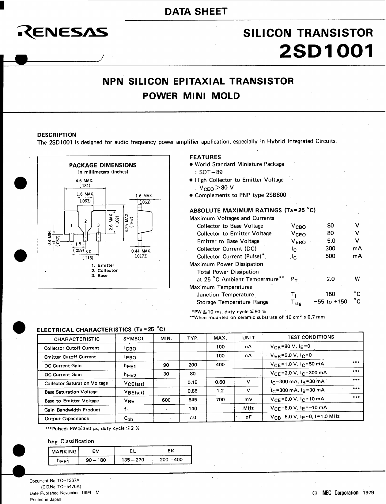 D1001 Datasheet, D1001 PDF,ピン配置, 機能