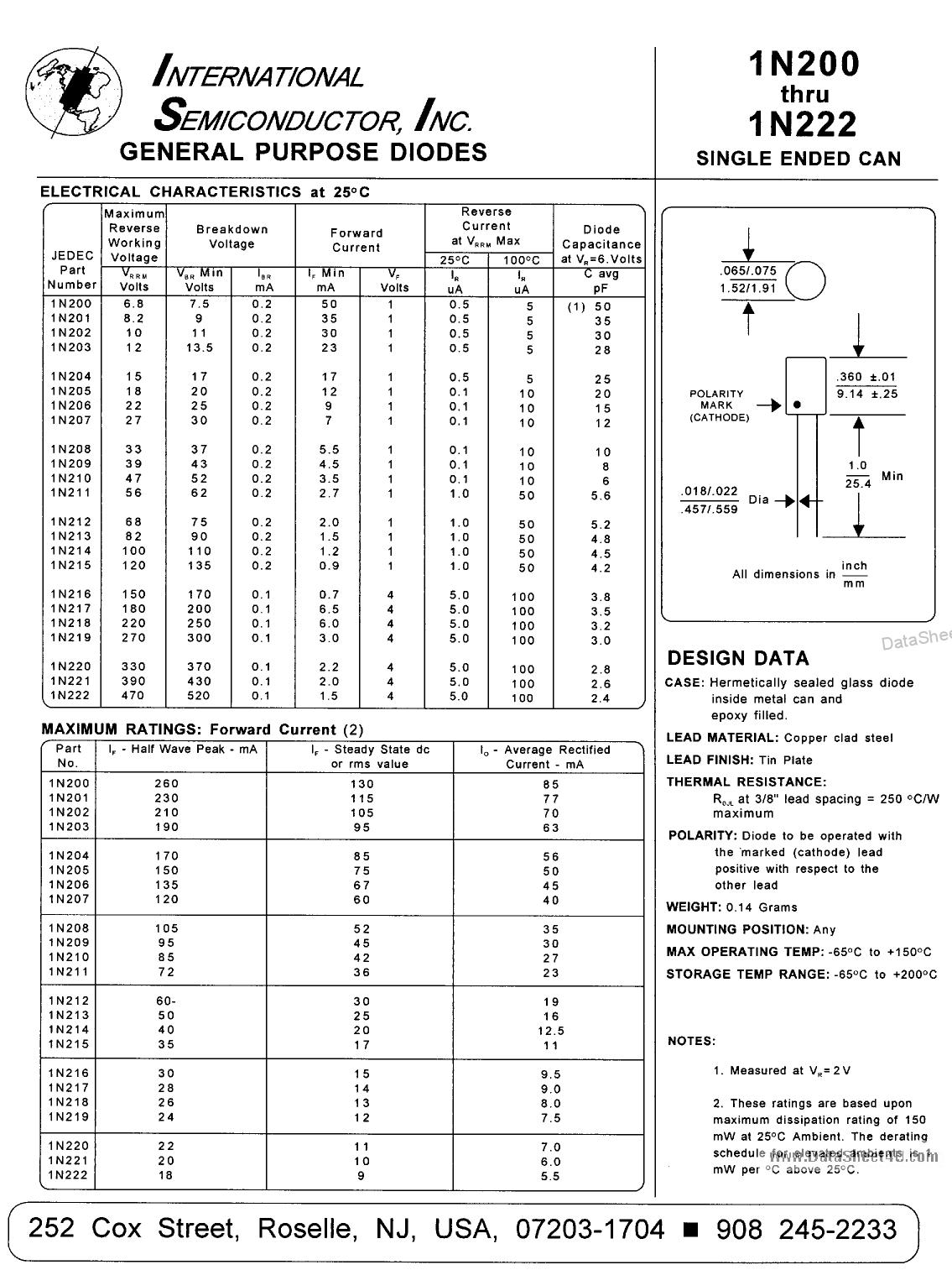 1N202 دیتاشیت PDF