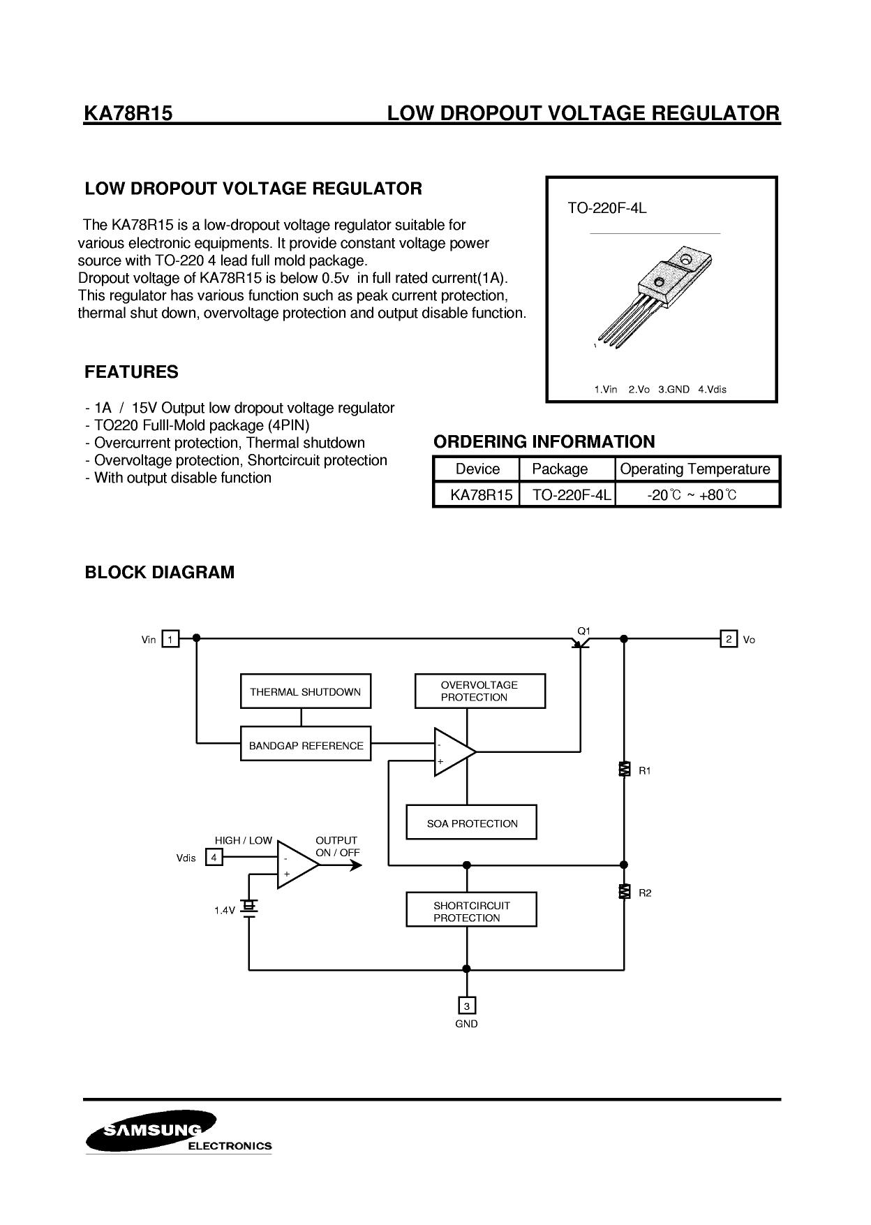 KA78R15 Datasheet, KA78R15 PDF,ピン配置, 機能