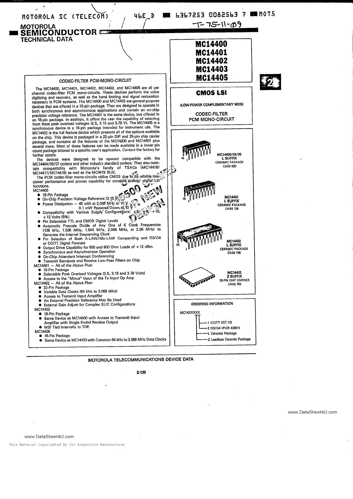 MC14401 datasheet pinout