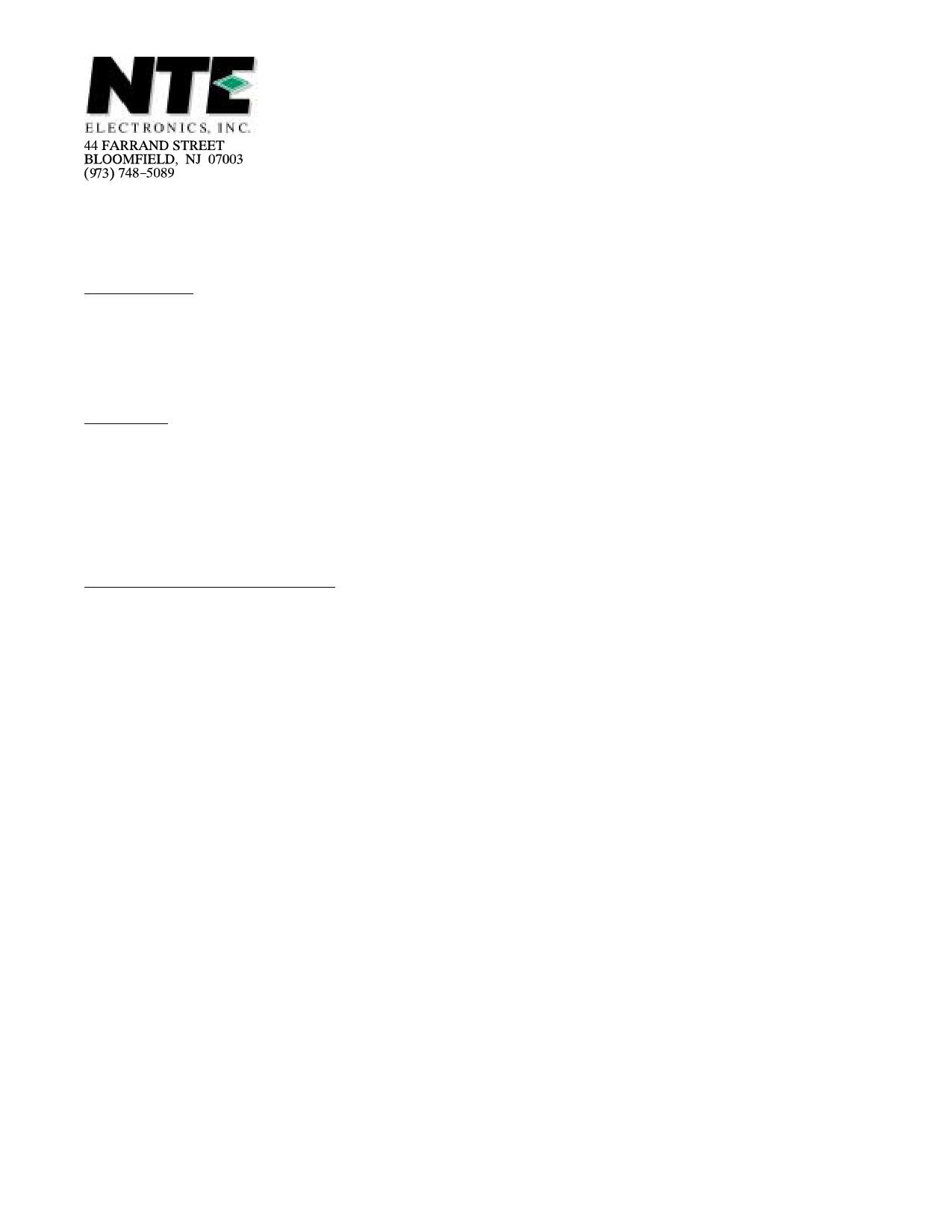 NTE5444 دیتاشیت PDF